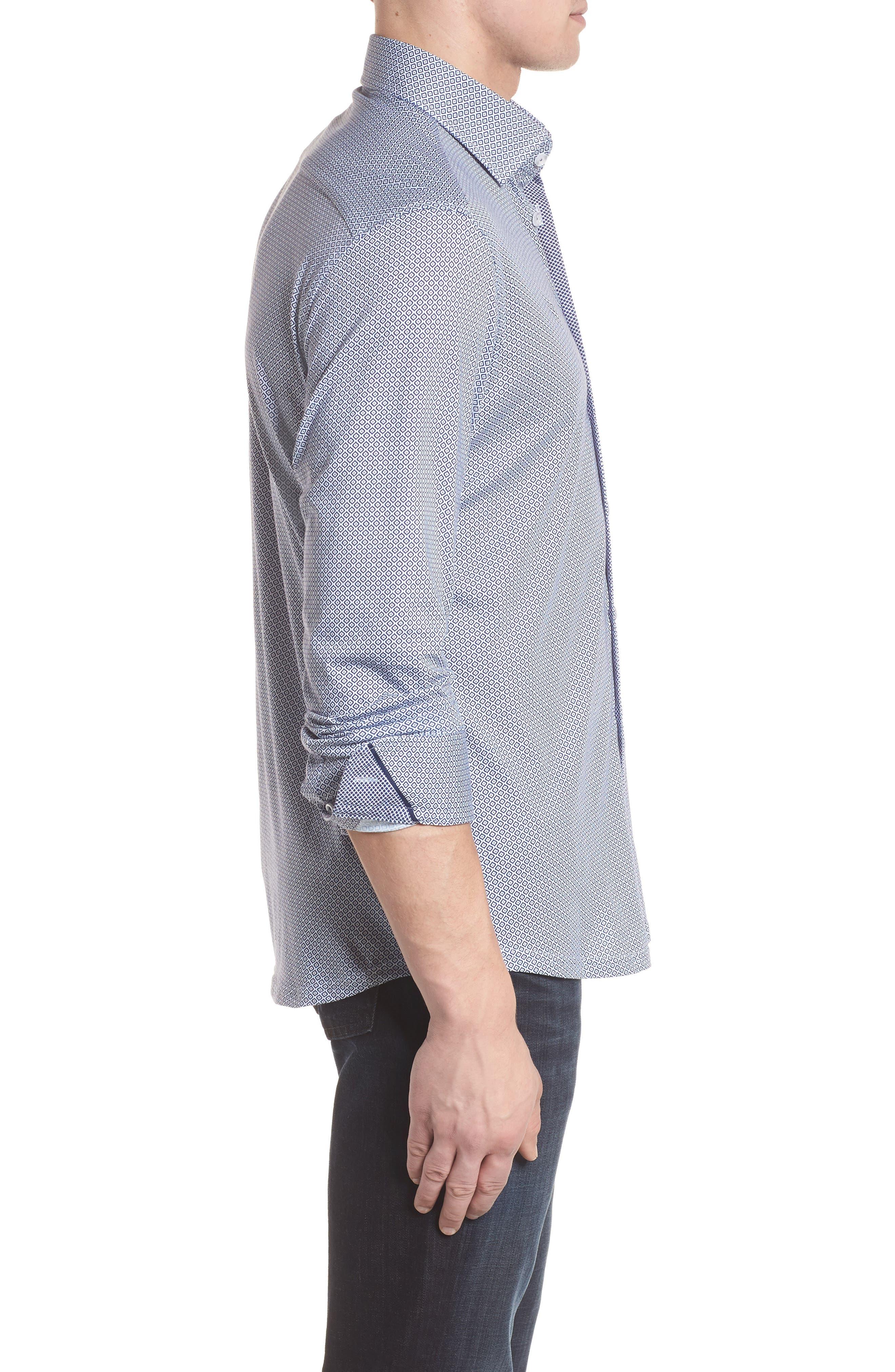 Diamond Print Knit Sport Shirt,                             Alternate thumbnail 3, color,                             White