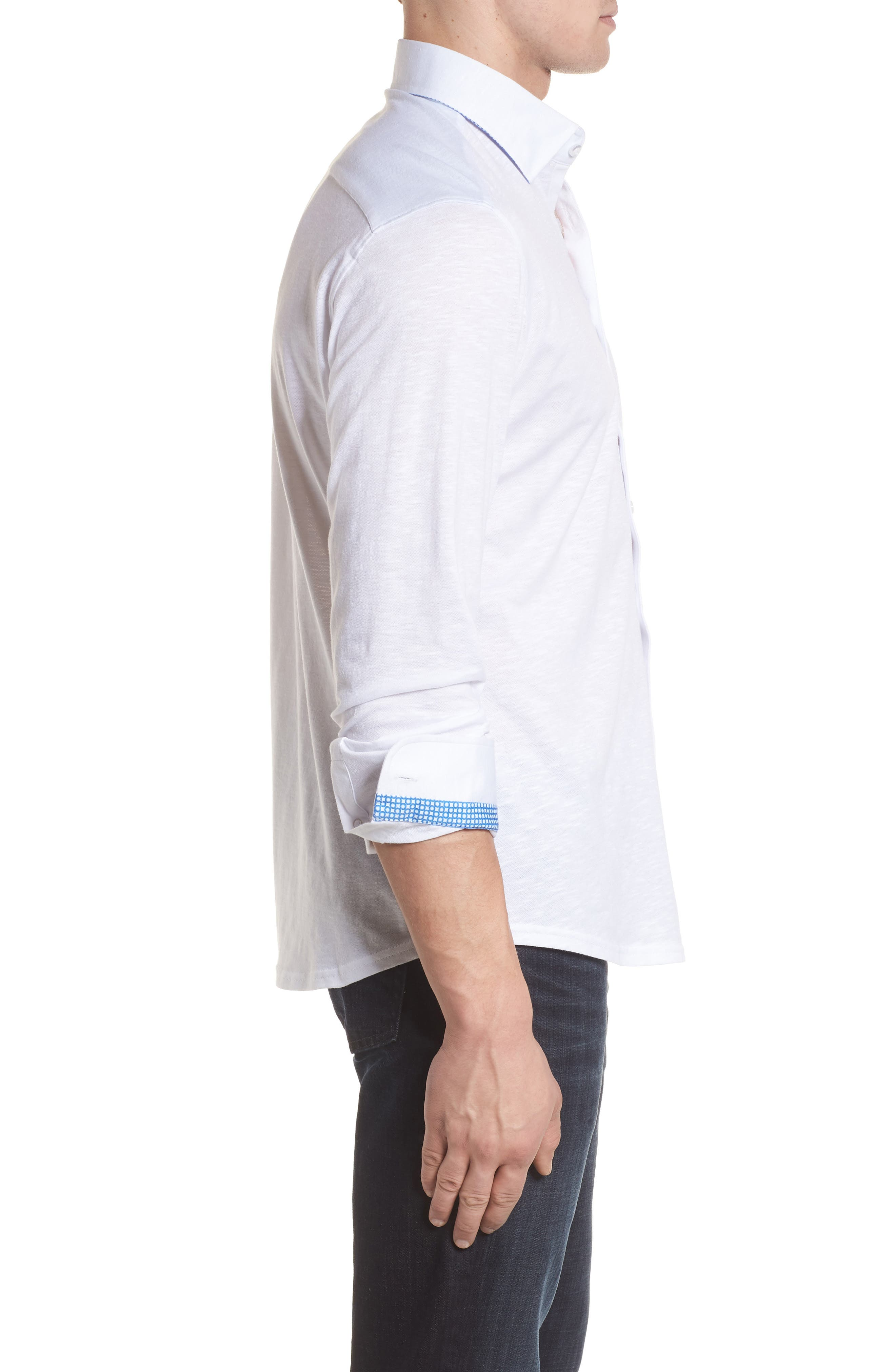 Flame Contemporary Fit Sport Shirt,                             Alternate thumbnail 3, color,                             White