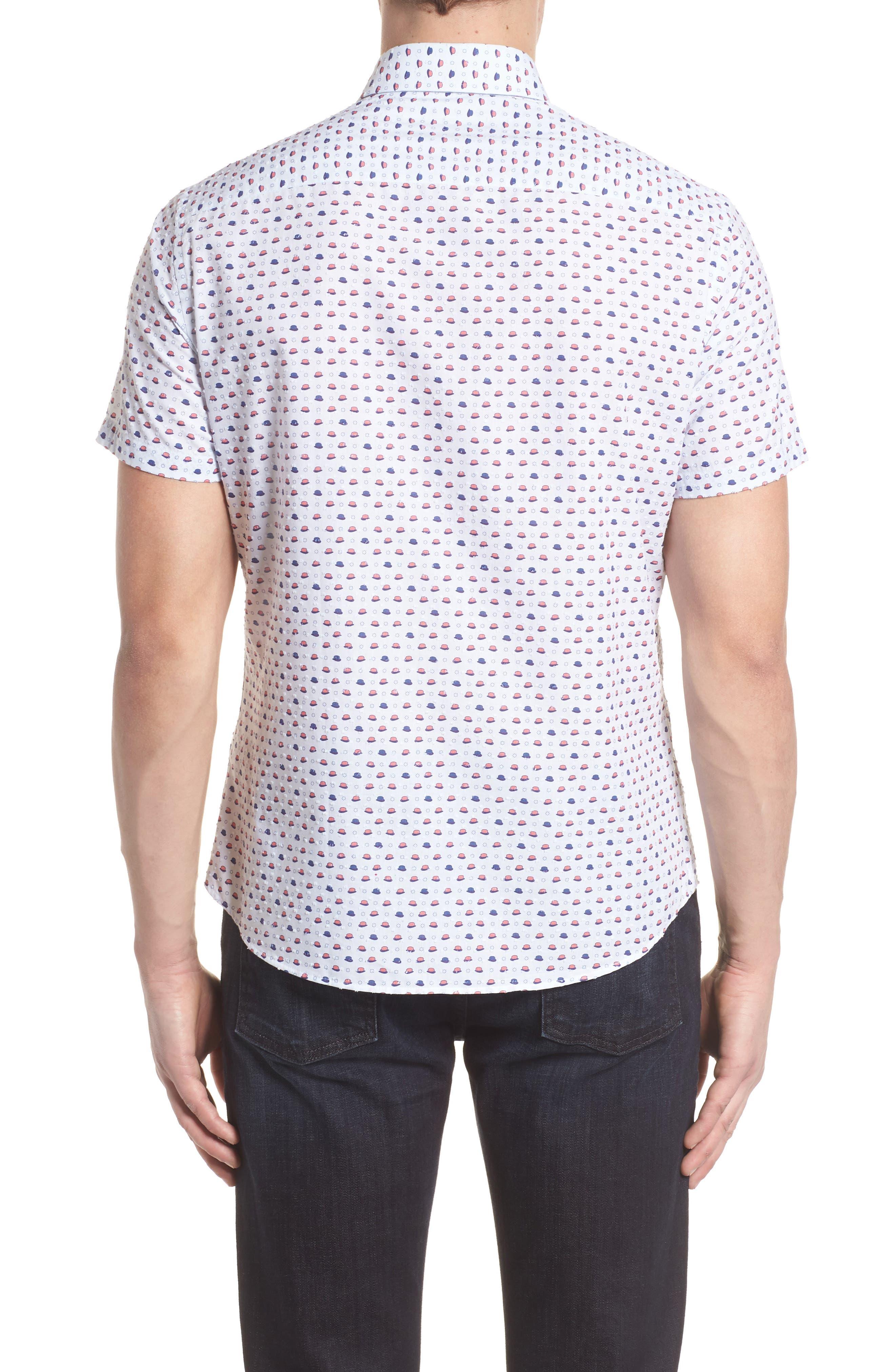 Contemporary Fit Bowler Hat Print Sport Shirt,                             Alternate thumbnail 2, color,                             White