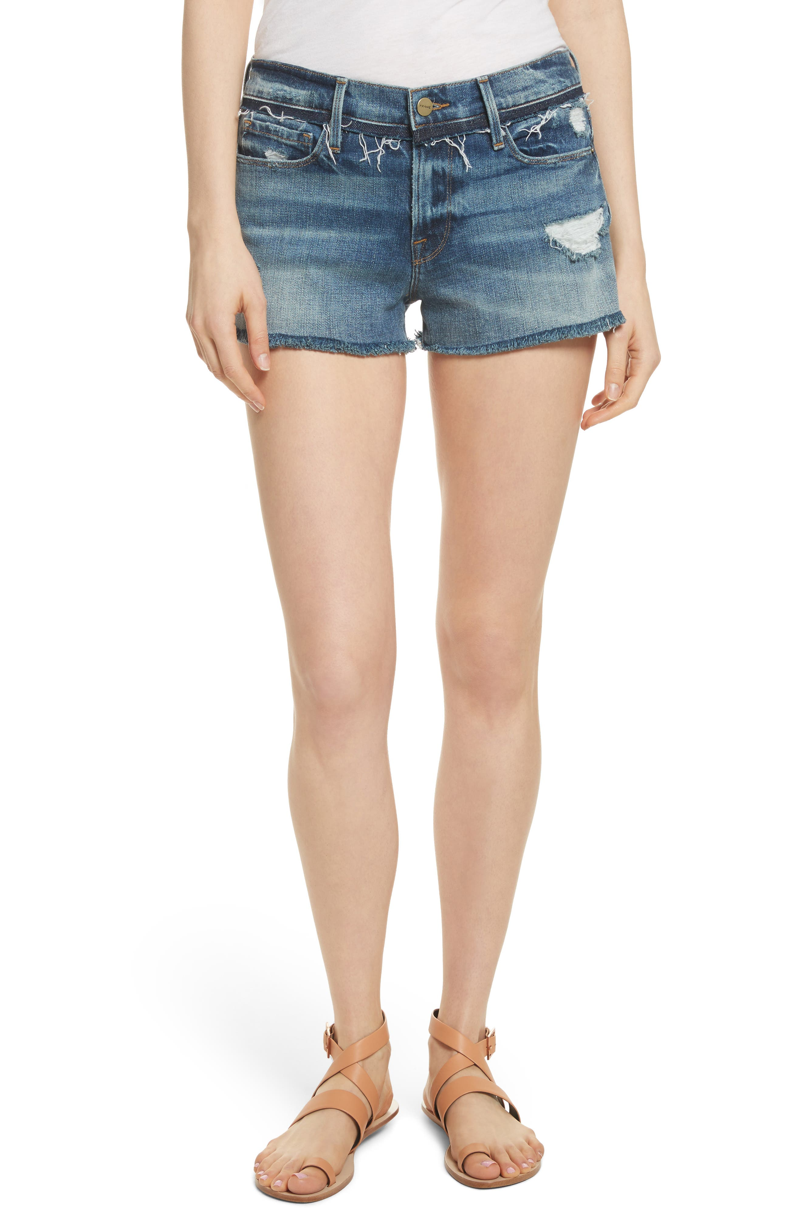 Main Image - FRAME Le Cutoff Denim Shorts (Rookley)