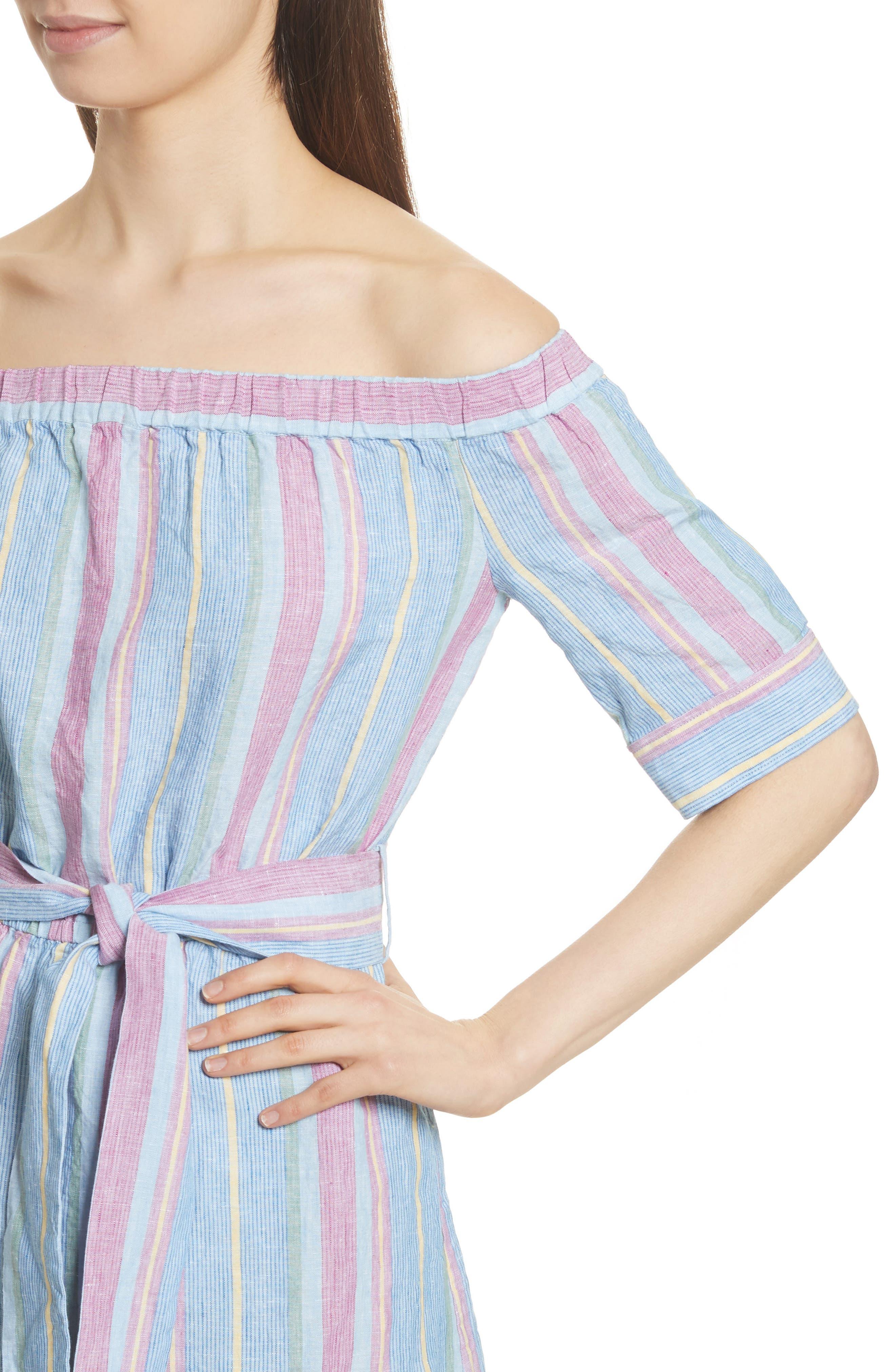 Stripe Off the Shoulder Linen Dress,                             Alternate thumbnail 4, color,                             Purple Multi