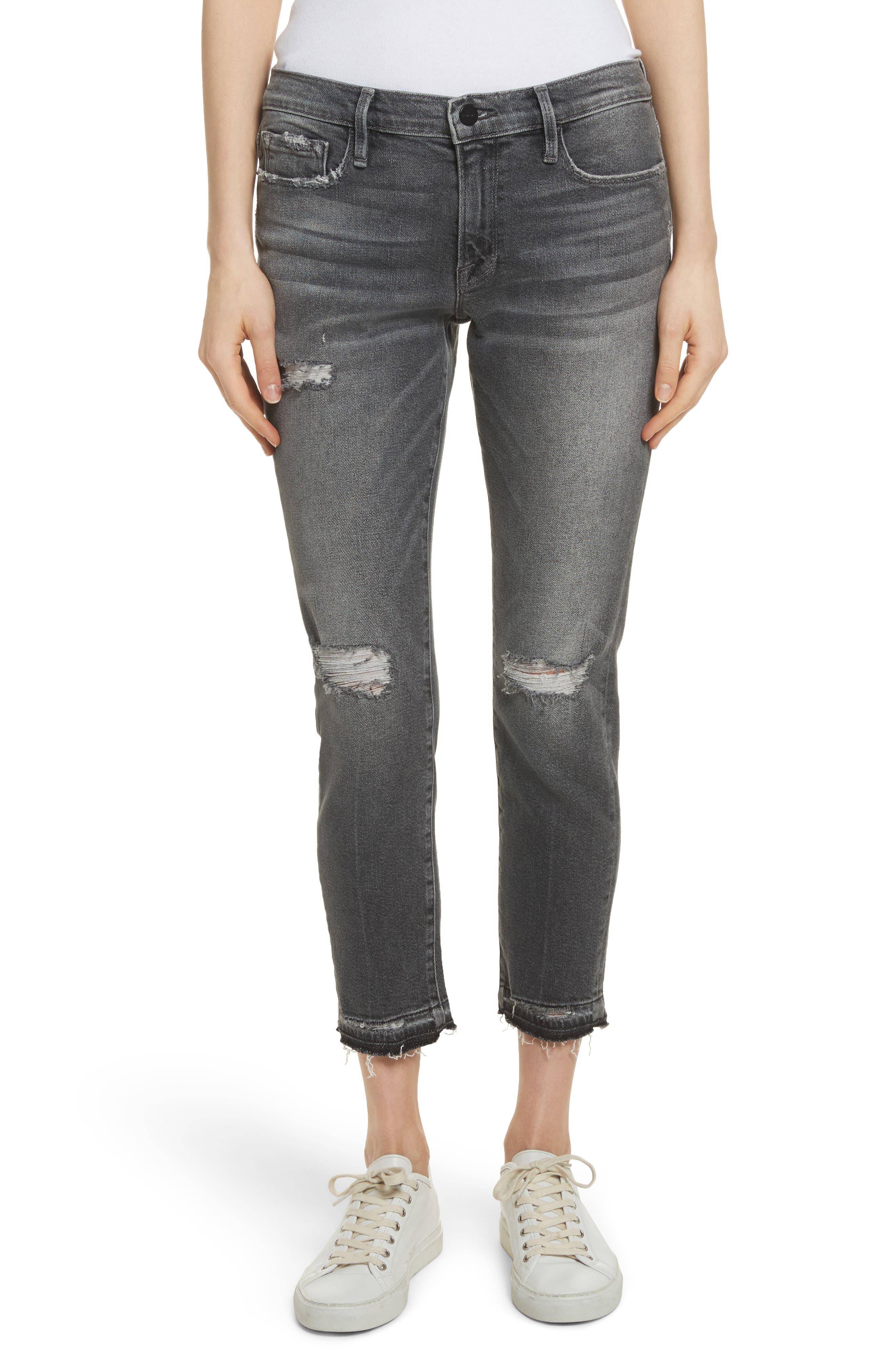 Le Garçon Ripped Released Hem Slim Jeans,                             Main thumbnail 1, color,                             Stockcross