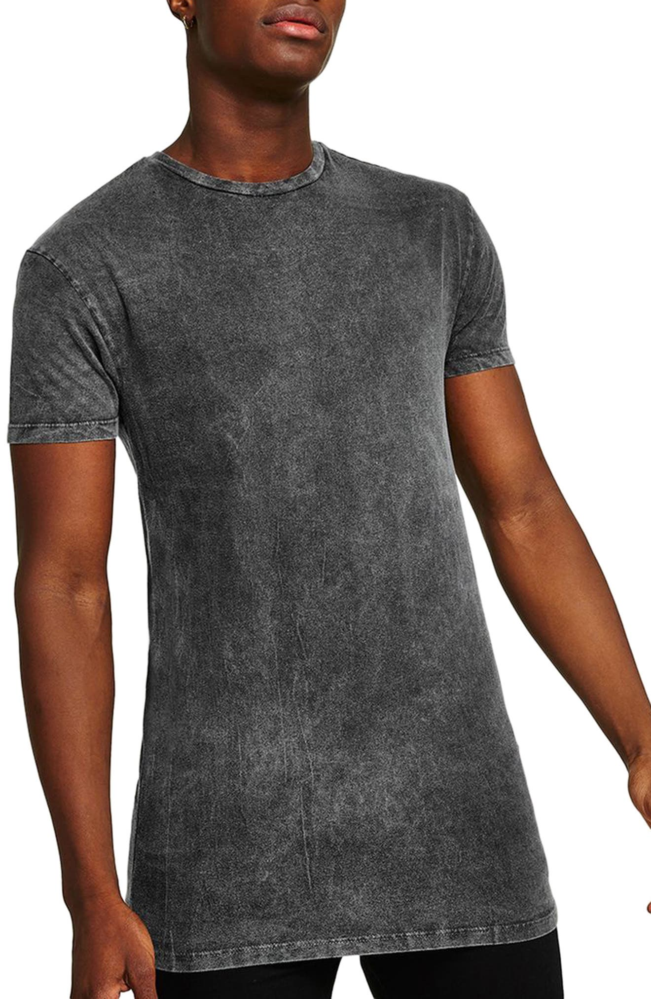 Muscle Fit Longline Tee,                         Main,                         color, Grey