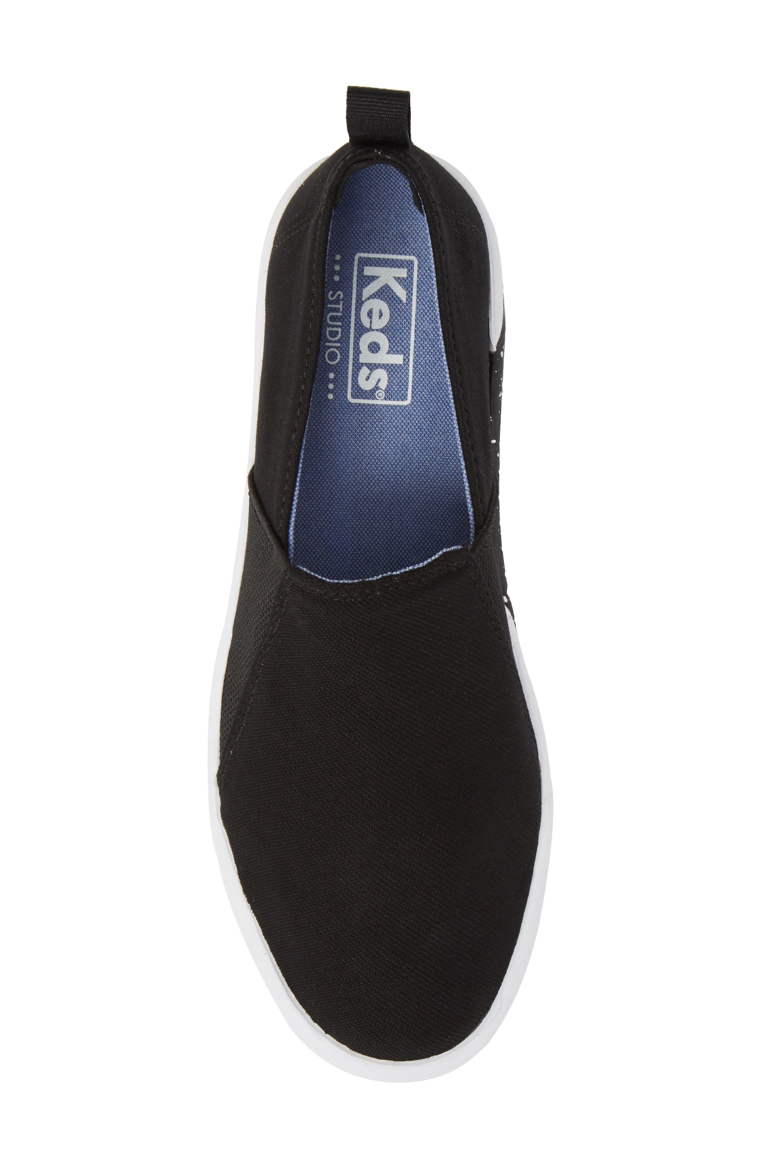 Studio Liv Jersey Slip-On Sneaker,                             Alternate thumbnail 5, color,                             Black