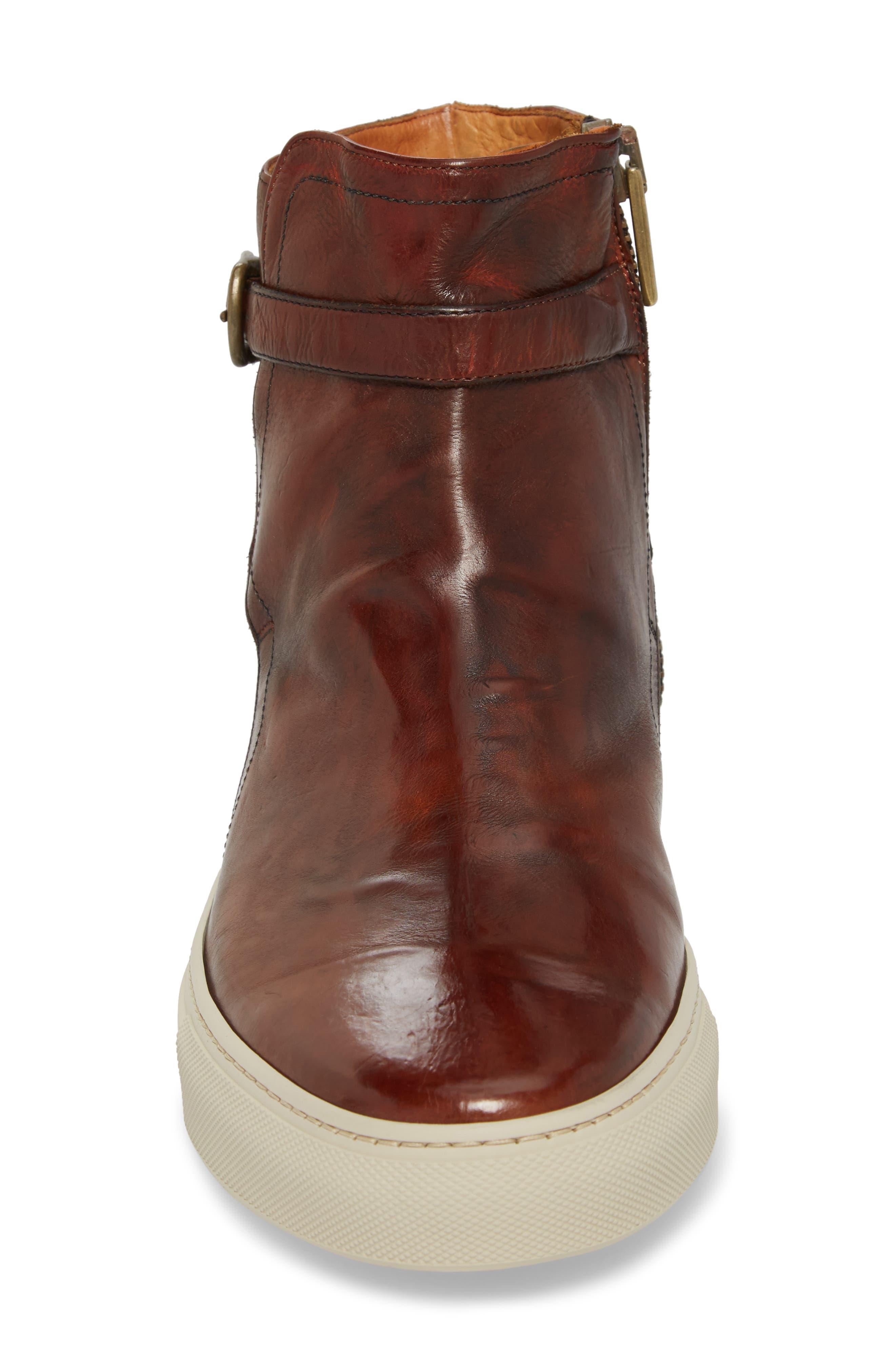 Owen Jodhpur High Top Sneaker,                             Alternate thumbnail 4, color,                             Redwood Leather