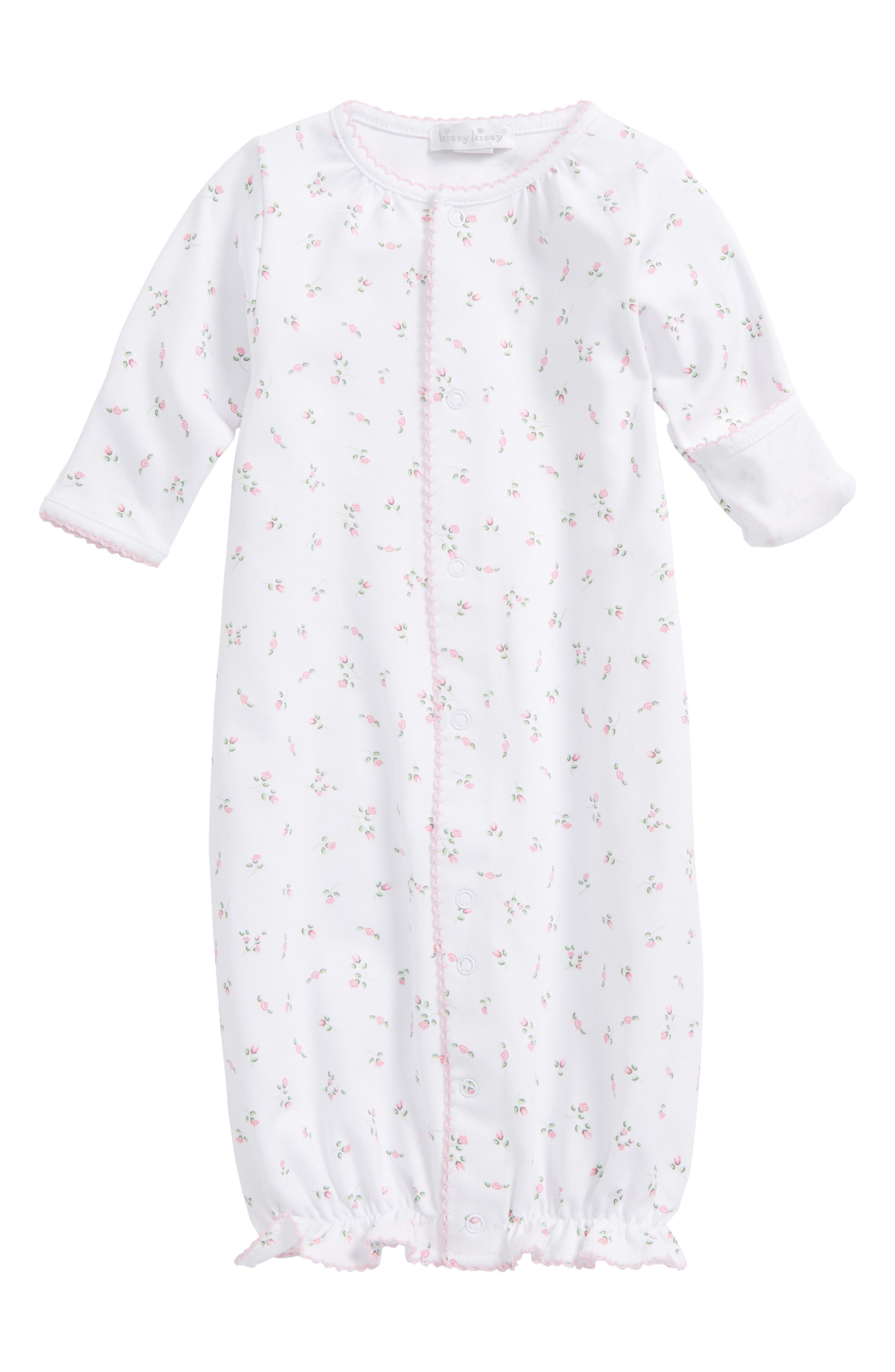 Convertible Pima Cotton Gown,                             Main thumbnail 1, color,                             Garden Roses