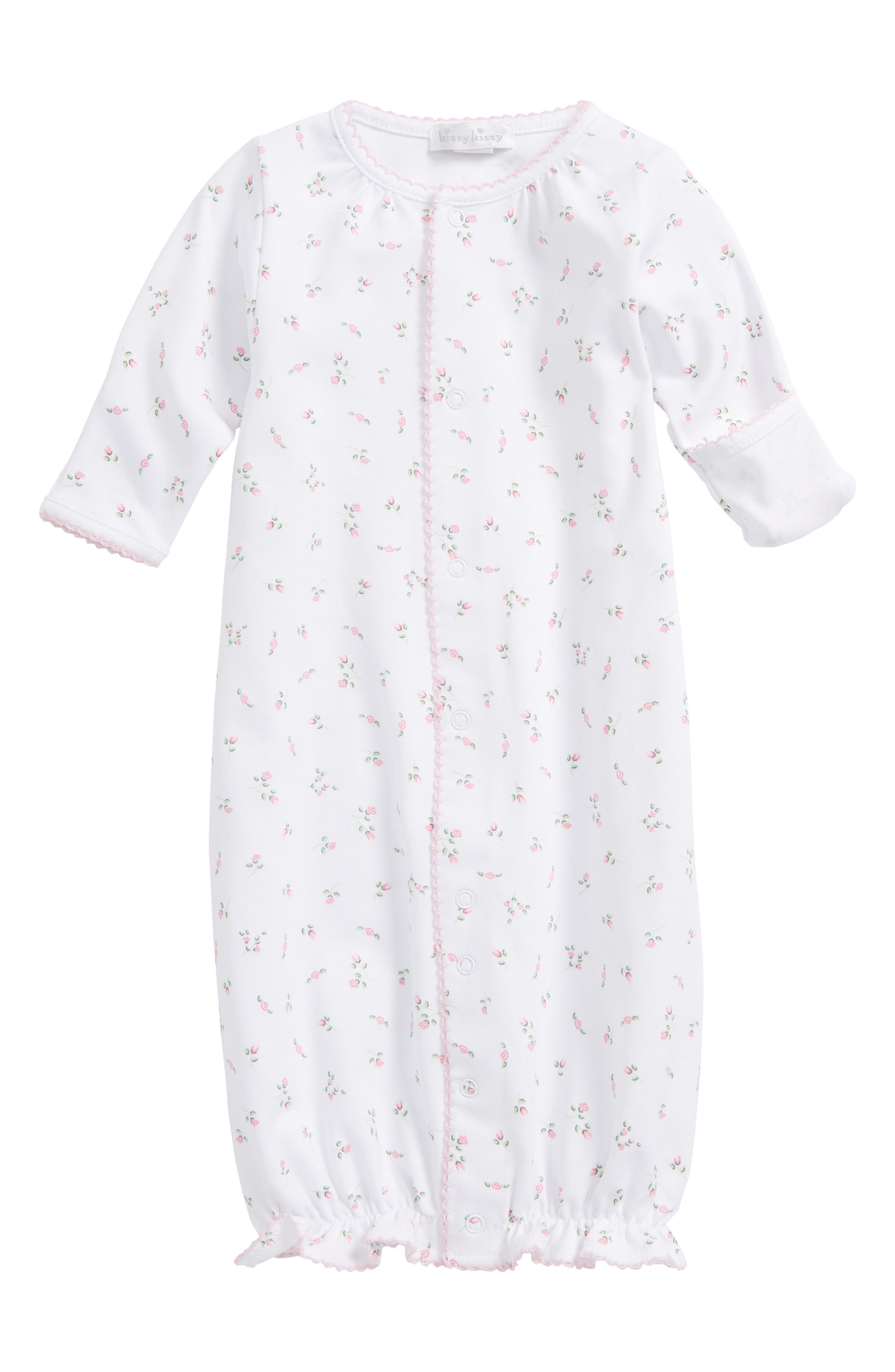 Kissy Kissy Convertible Pima Cotton Gown (Baby Girls)