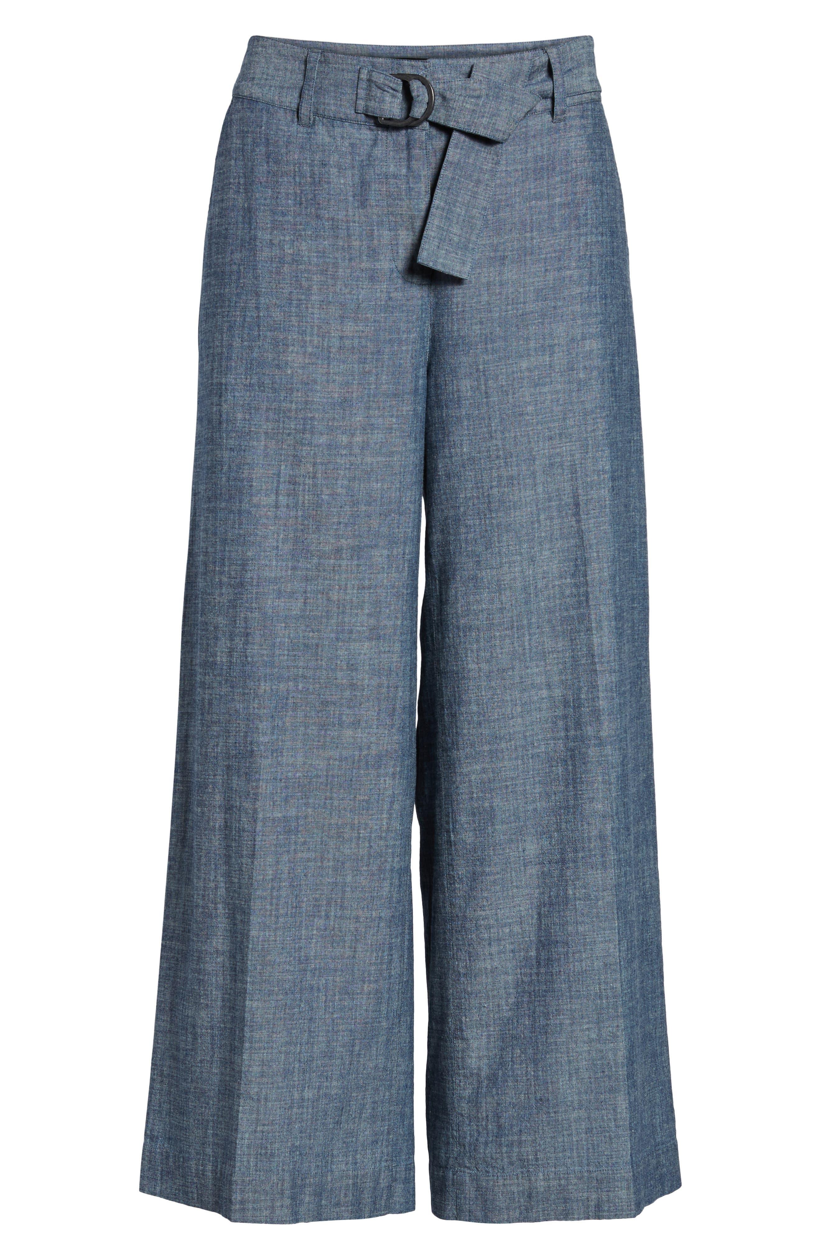 Wide Leg Crop Pants,                             Alternate thumbnail 7, color,                             Textured Navy