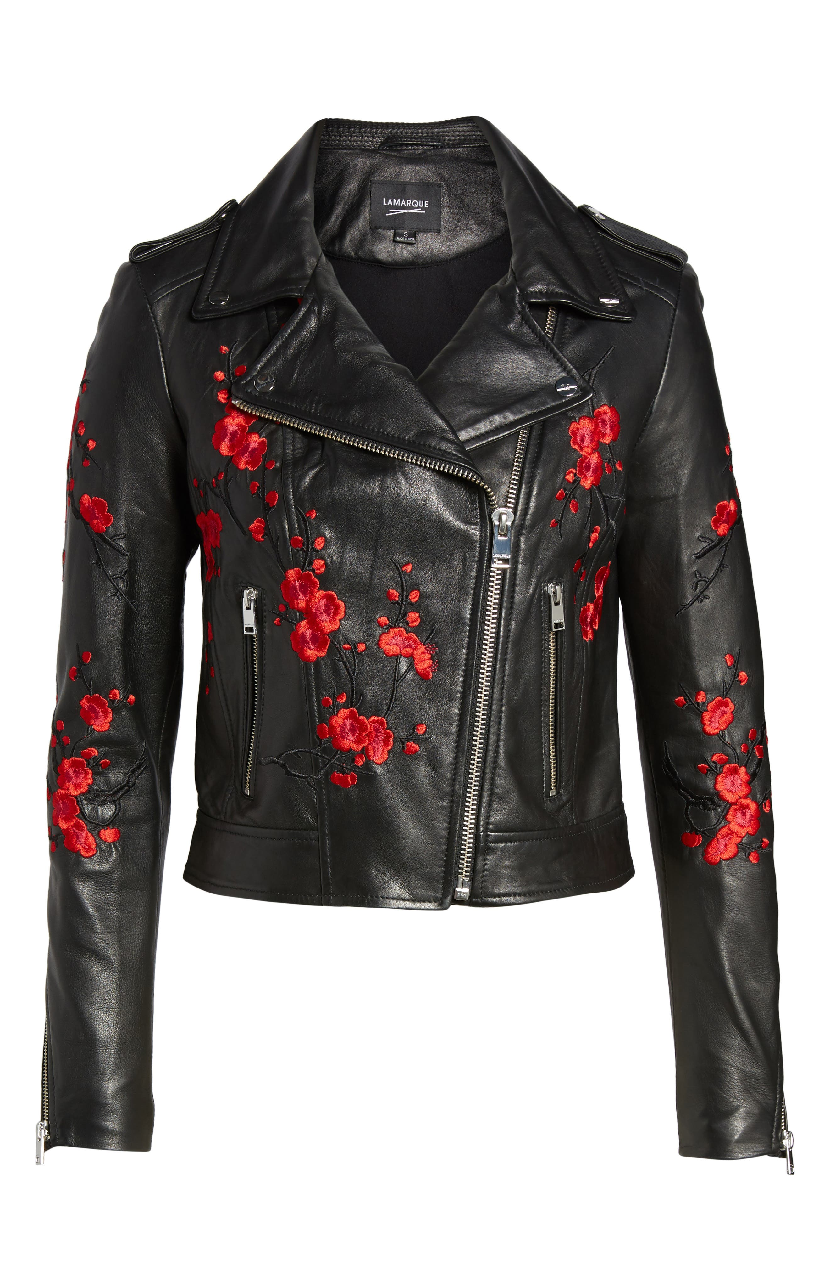 Embroidered Leather Moto Jacket,                             Alternate thumbnail 7, color,                             Black With Red Embroidery