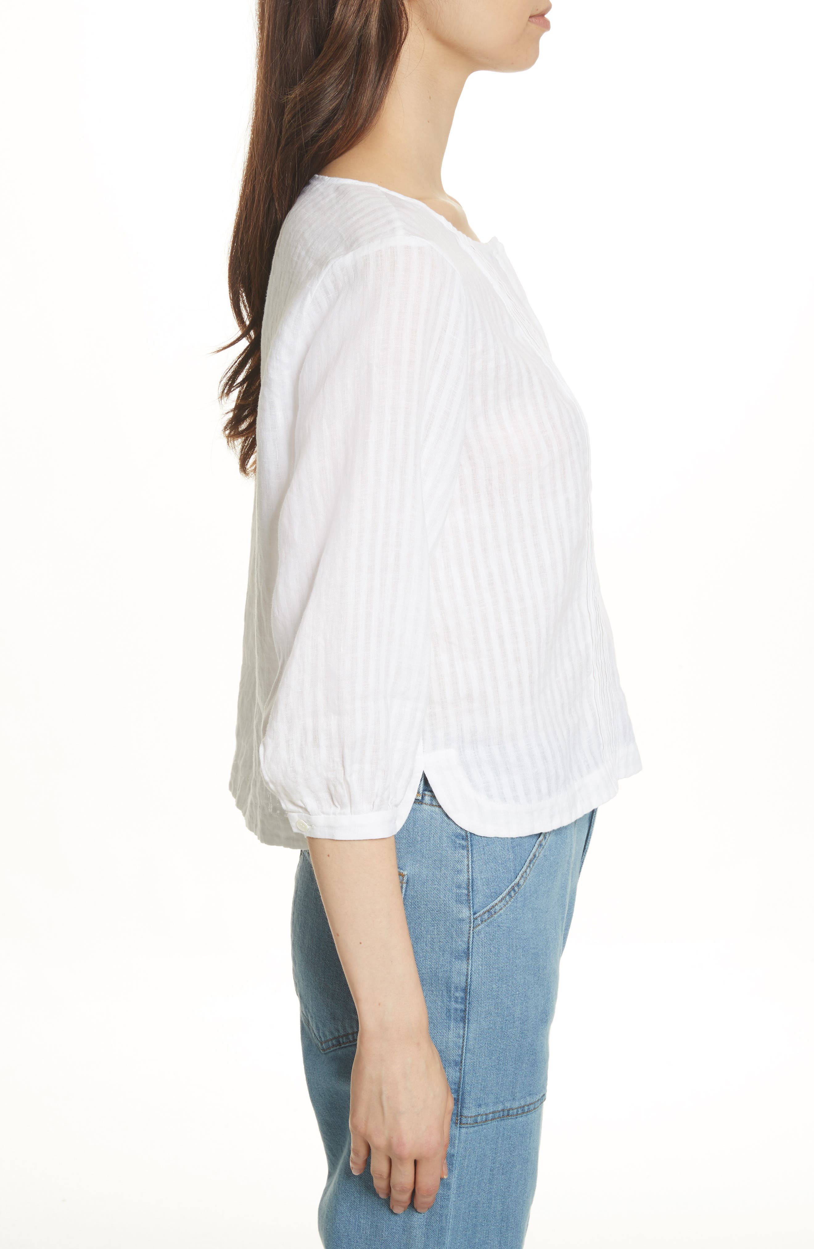Pintucked Linen Top,                             Alternate thumbnail 3, color,                             Blanc