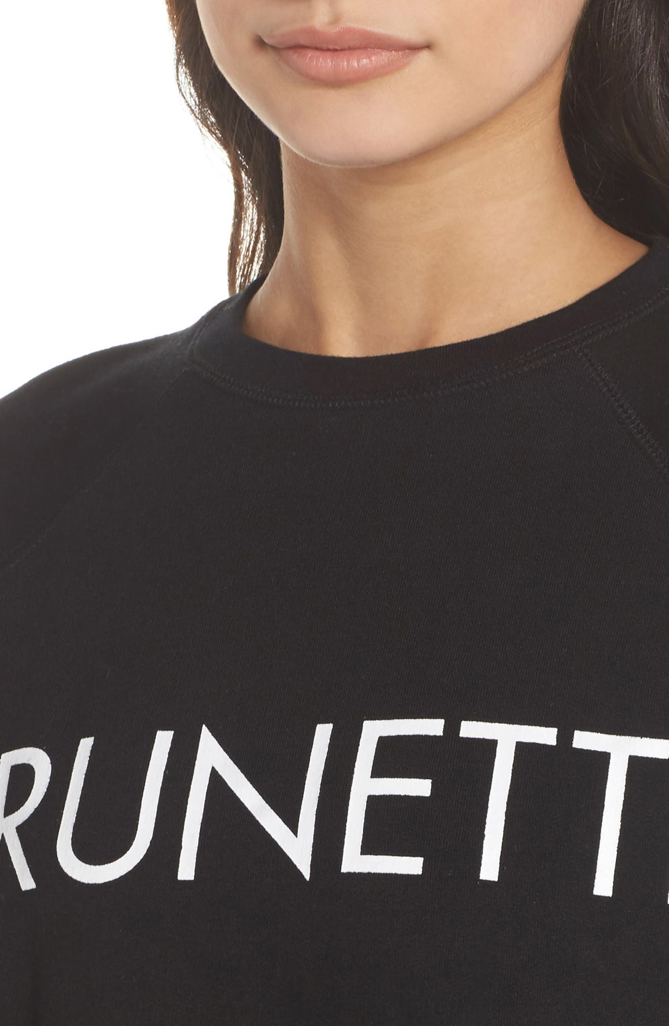 Brunette Raw Hem Sweatshirt,                             Alternate thumbnail 6, color,                             Black