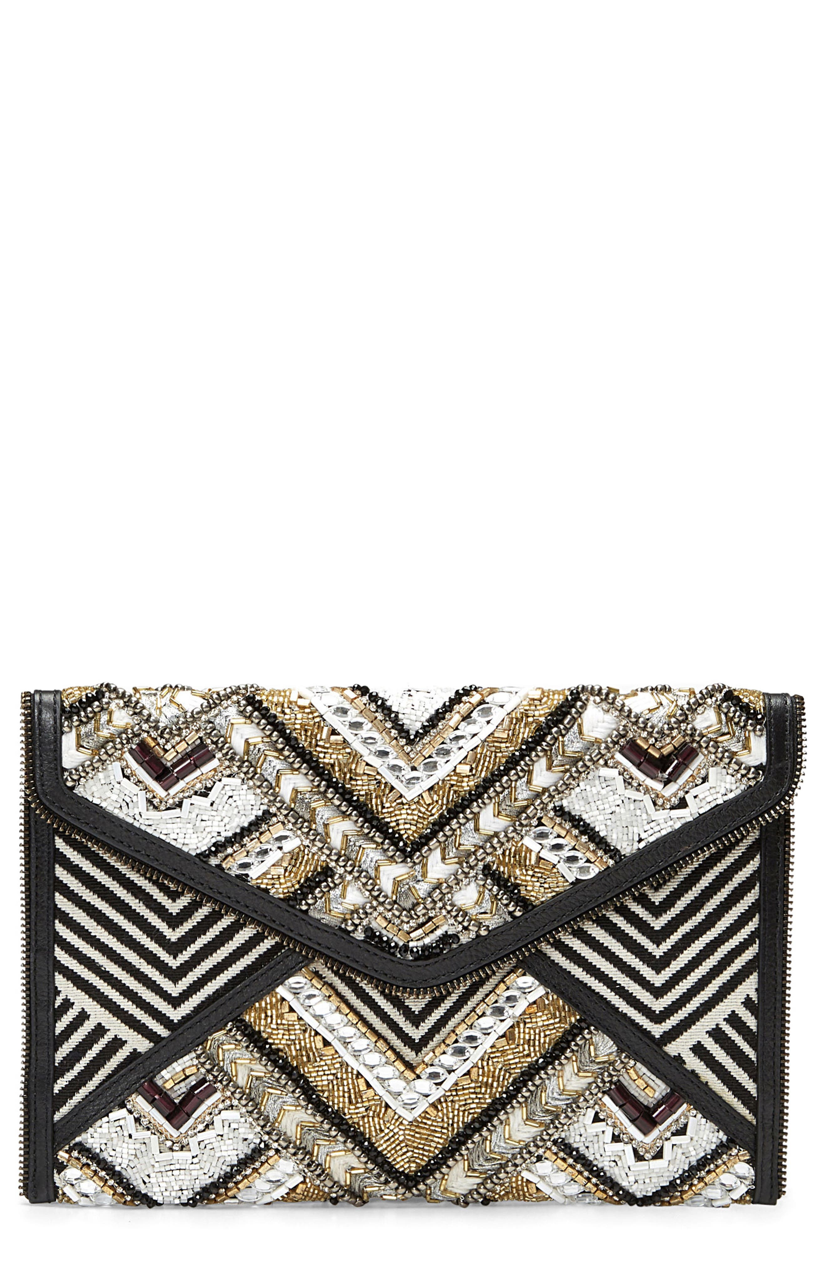 Leo Embellished Clutch,                             Main thumbnail 1, color,                             Black Metallic Multi