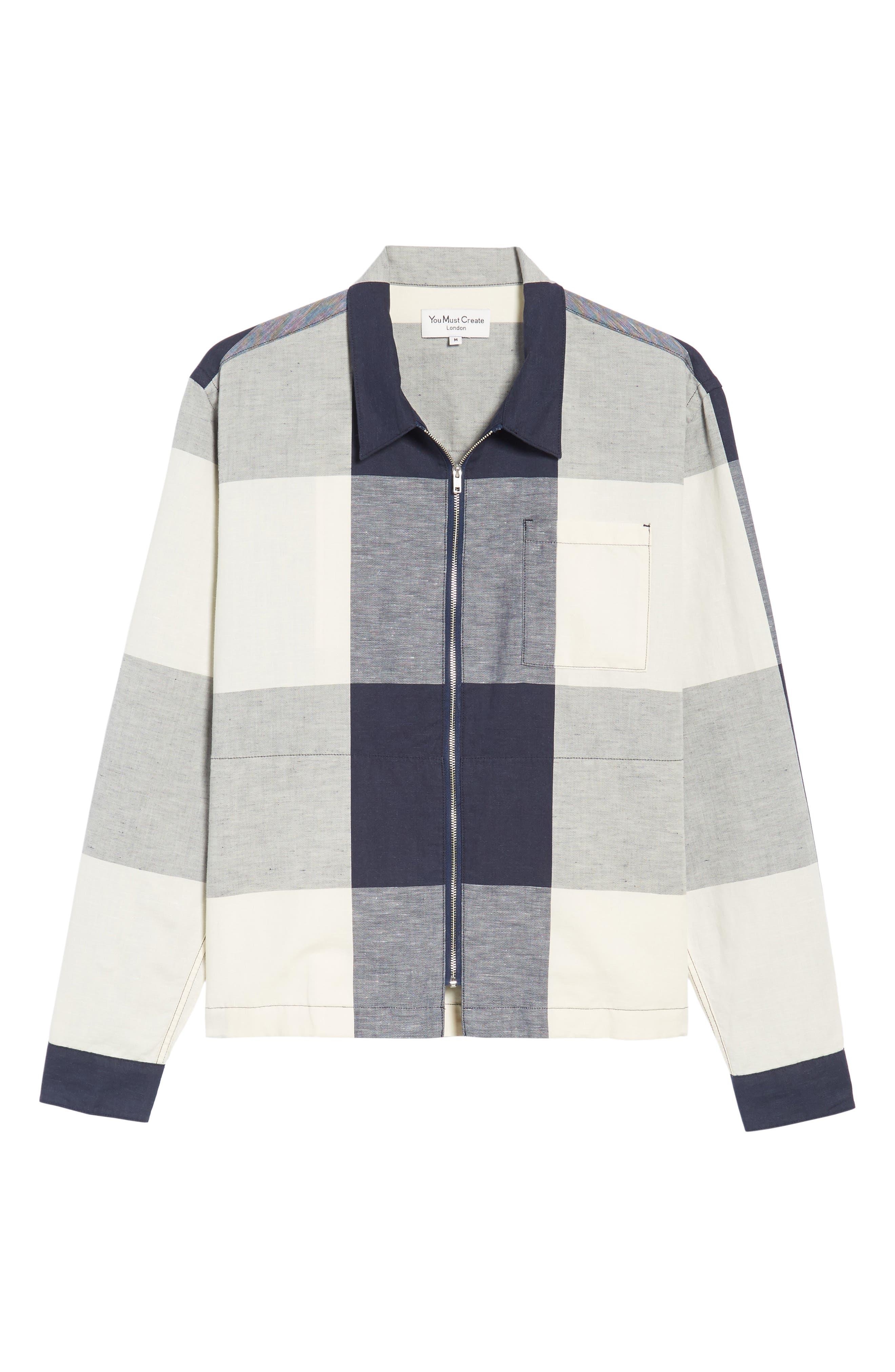 Doc Savage Regular Fit Check Sport Shirt,                             Alternate thumbnail 6, color,                             Ecru/ Navy