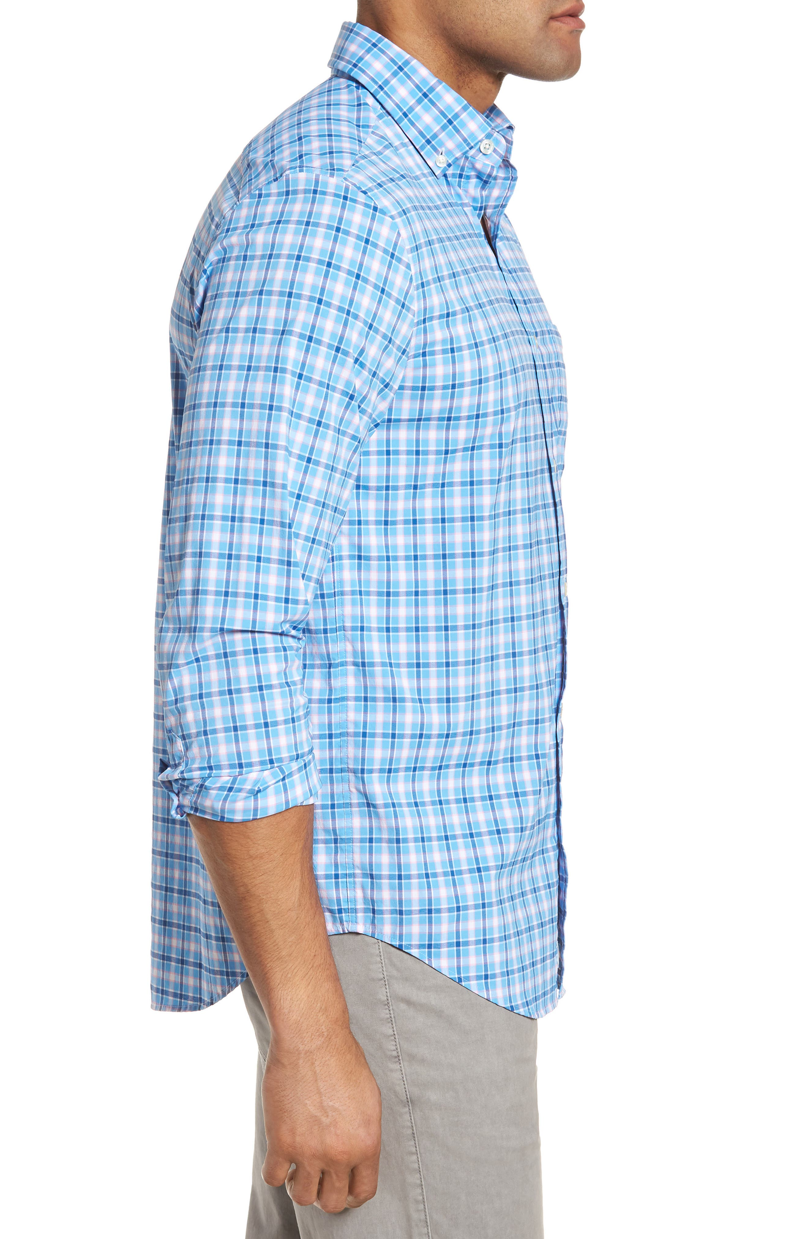 Lyford Cay Classic Fit Stretch Check Sport Shirt,                             Alternate thumbnail 3, color,                             Ocean Breeze