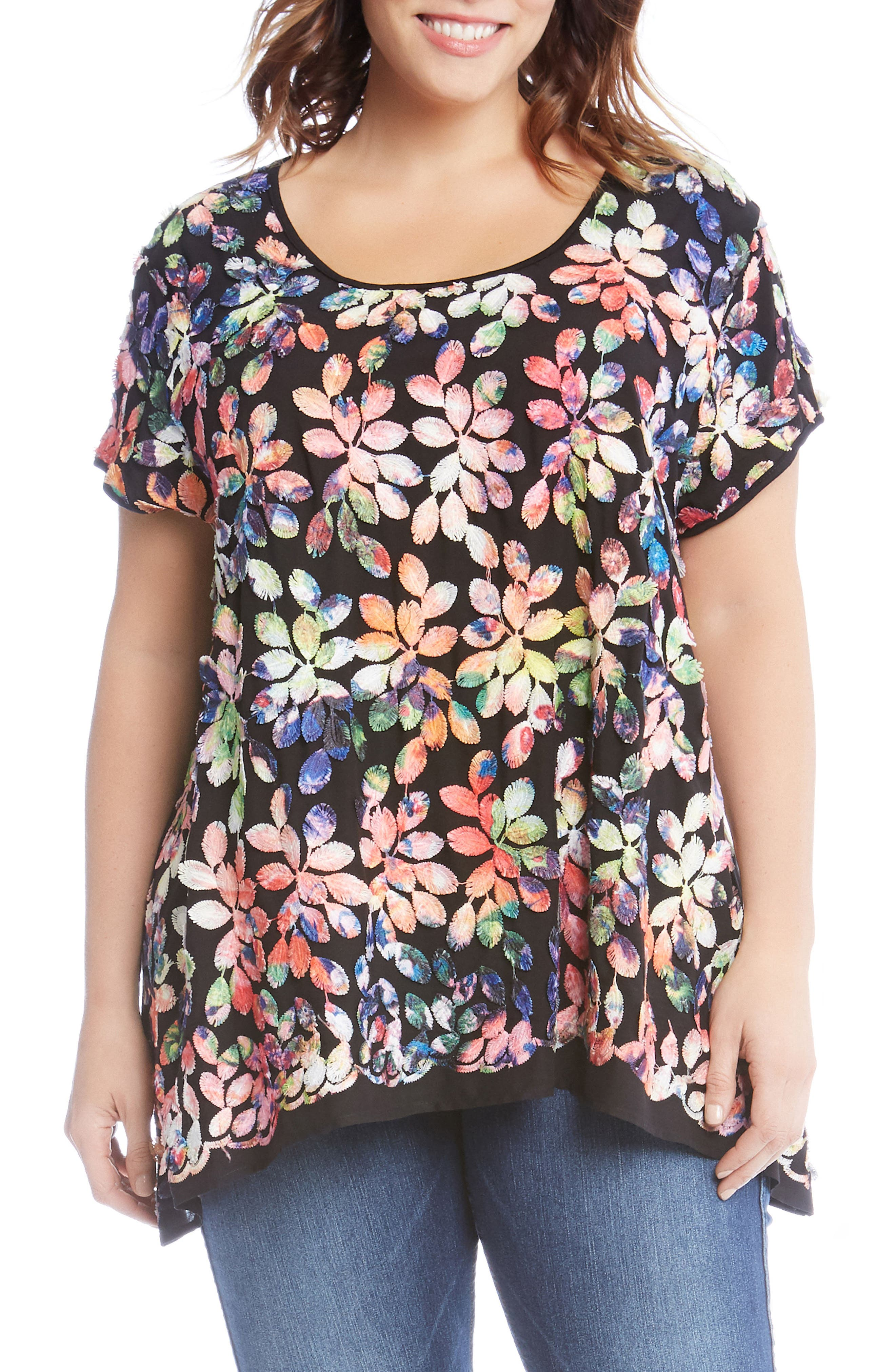 Rainbow Leaf Embroidered Top,                         Main,                         color, Pink