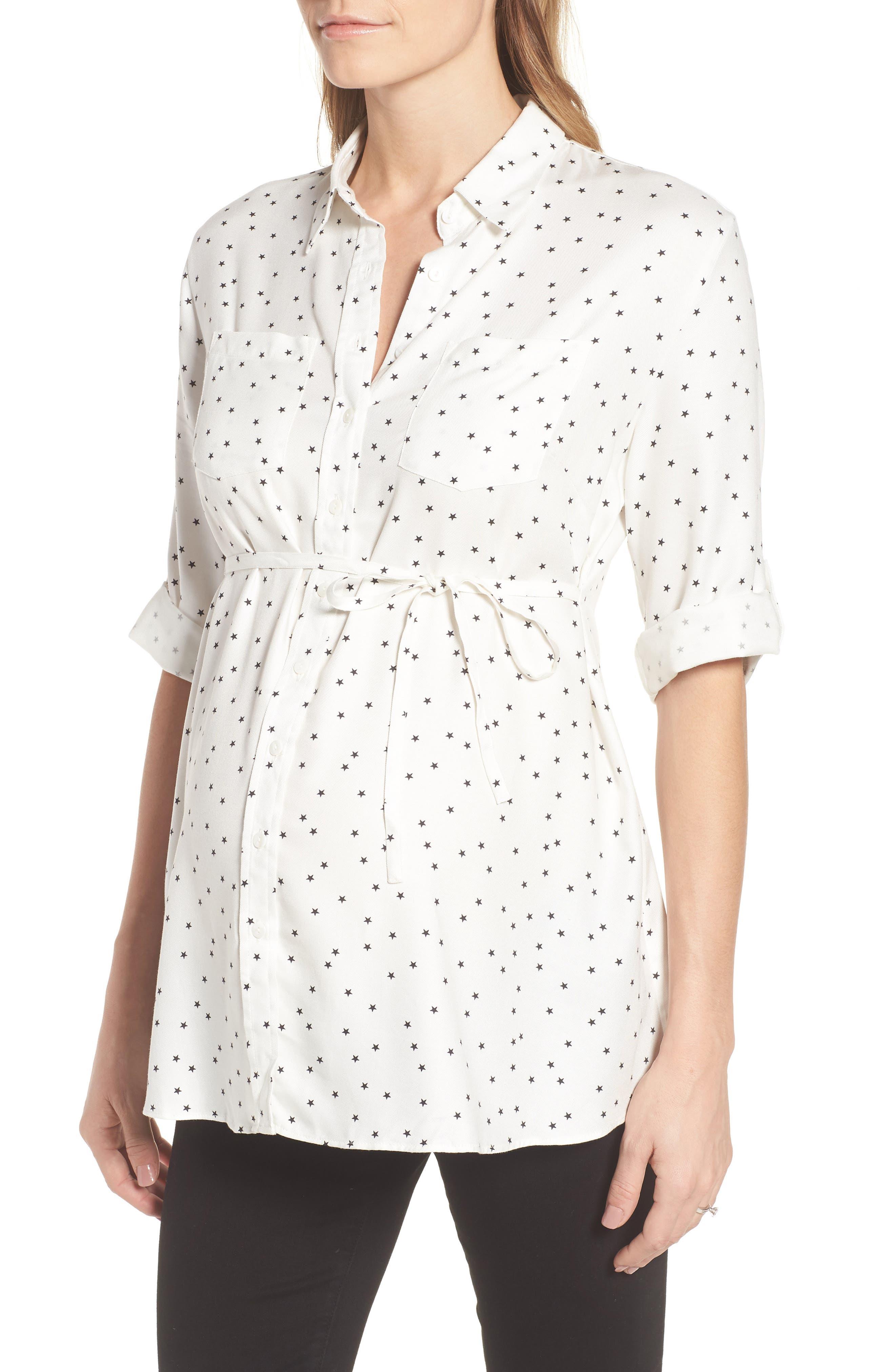 Selina Maternity Shirt,                             Alternate thumbnail 3, color,                             Off White Star Print