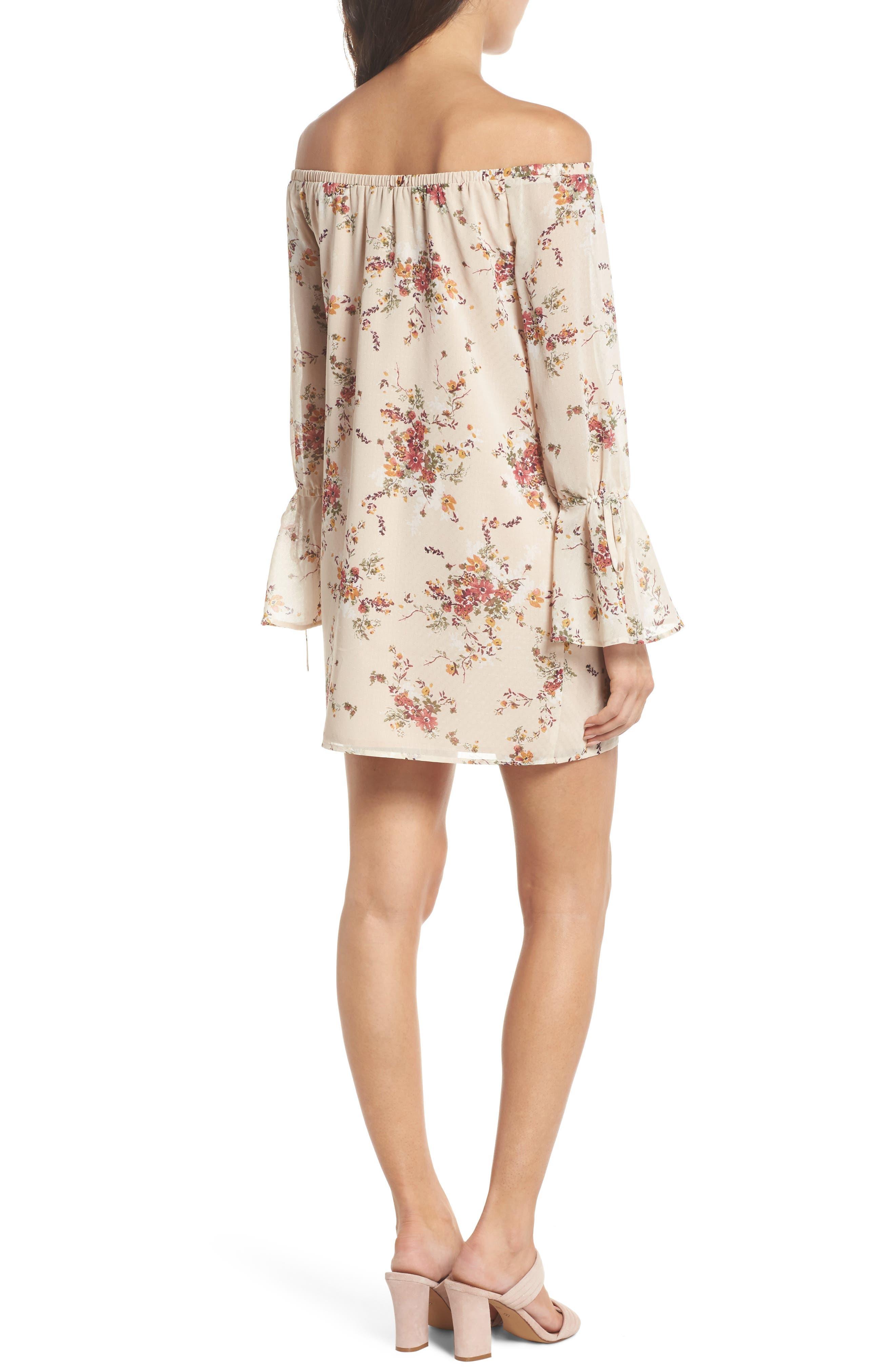 It's Love Floral Off the Shoulder Shift Dress,                             Alternate thumbnail 2, color,                             Crme Vintage Bouquet