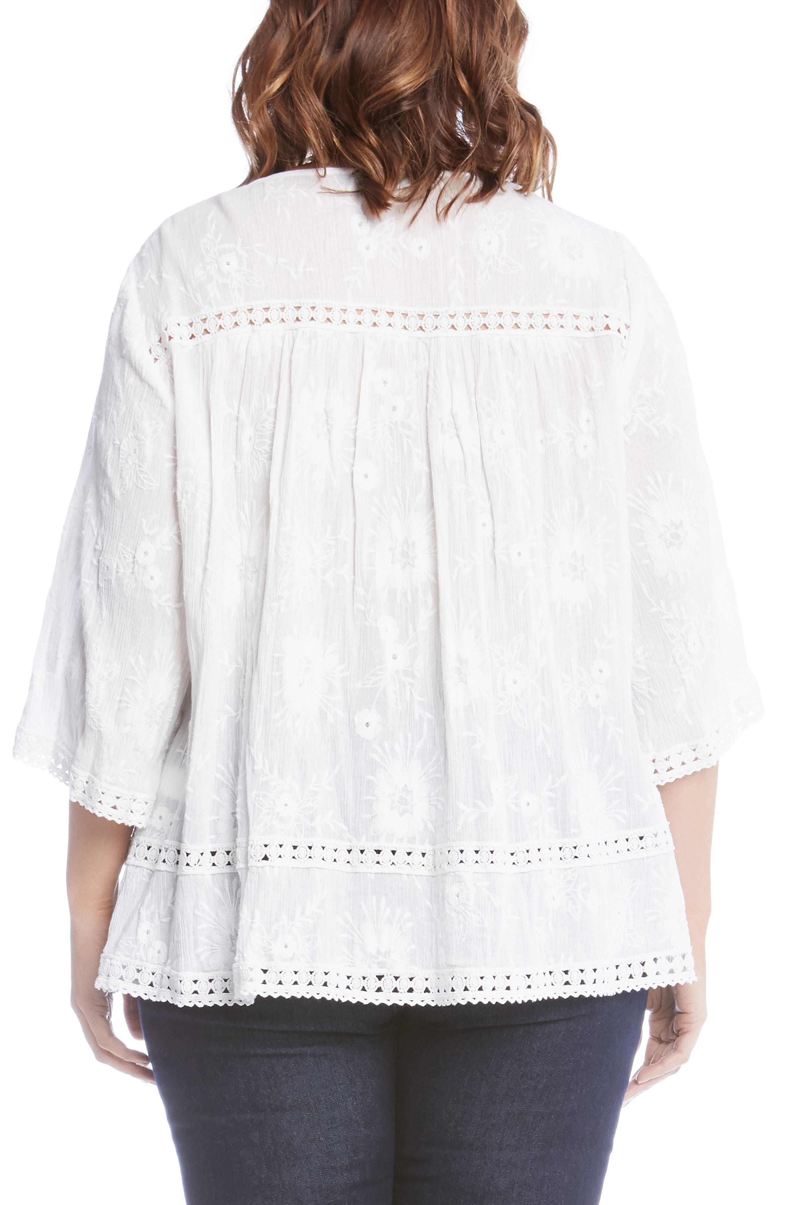 Embroidered Gauze Top,                             Alternate thumbnail 2, color,                             White