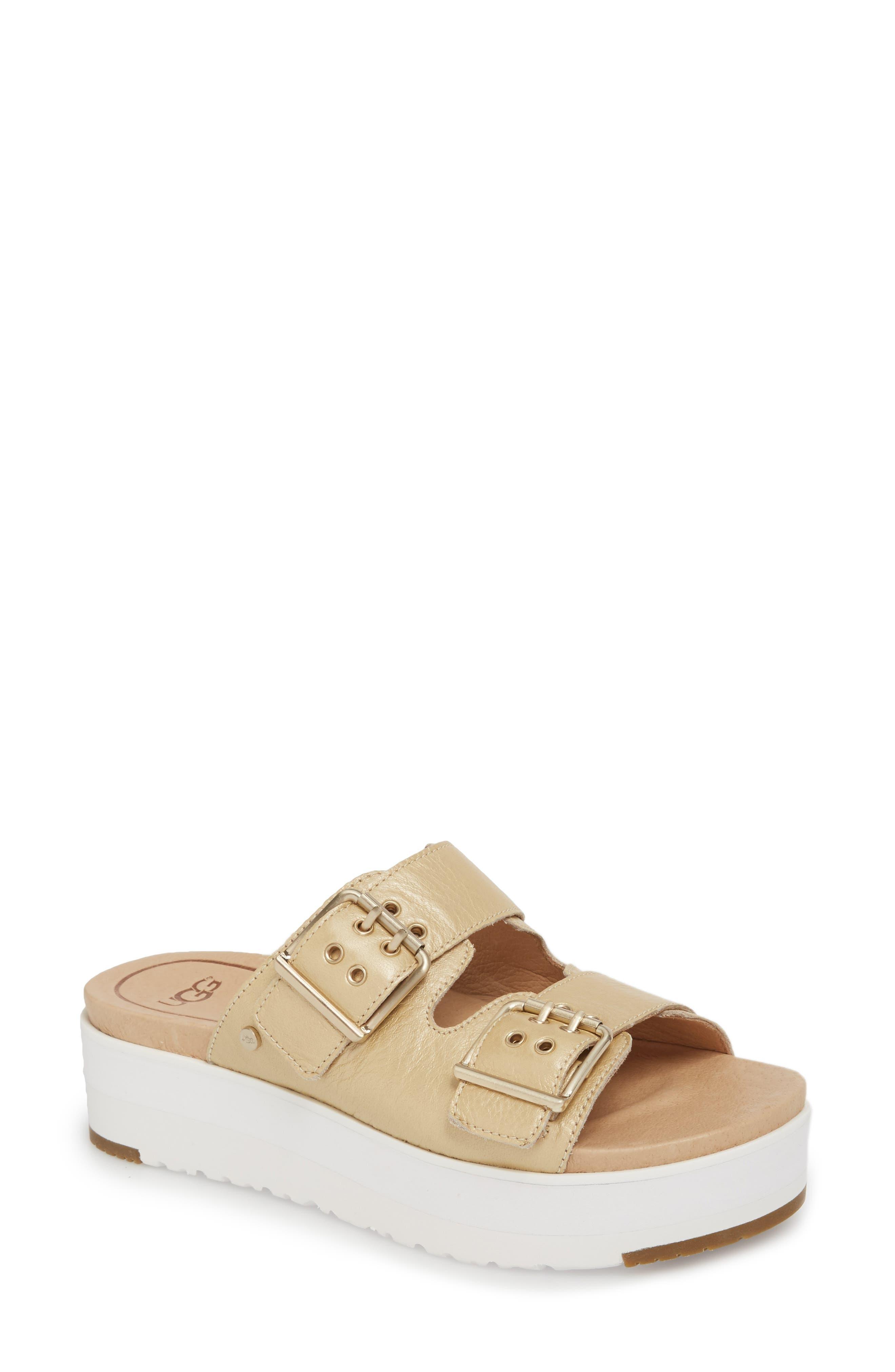 Cammie Platform Sandal,                             Main thumbnail 1, color,                             Gold Patent Leather