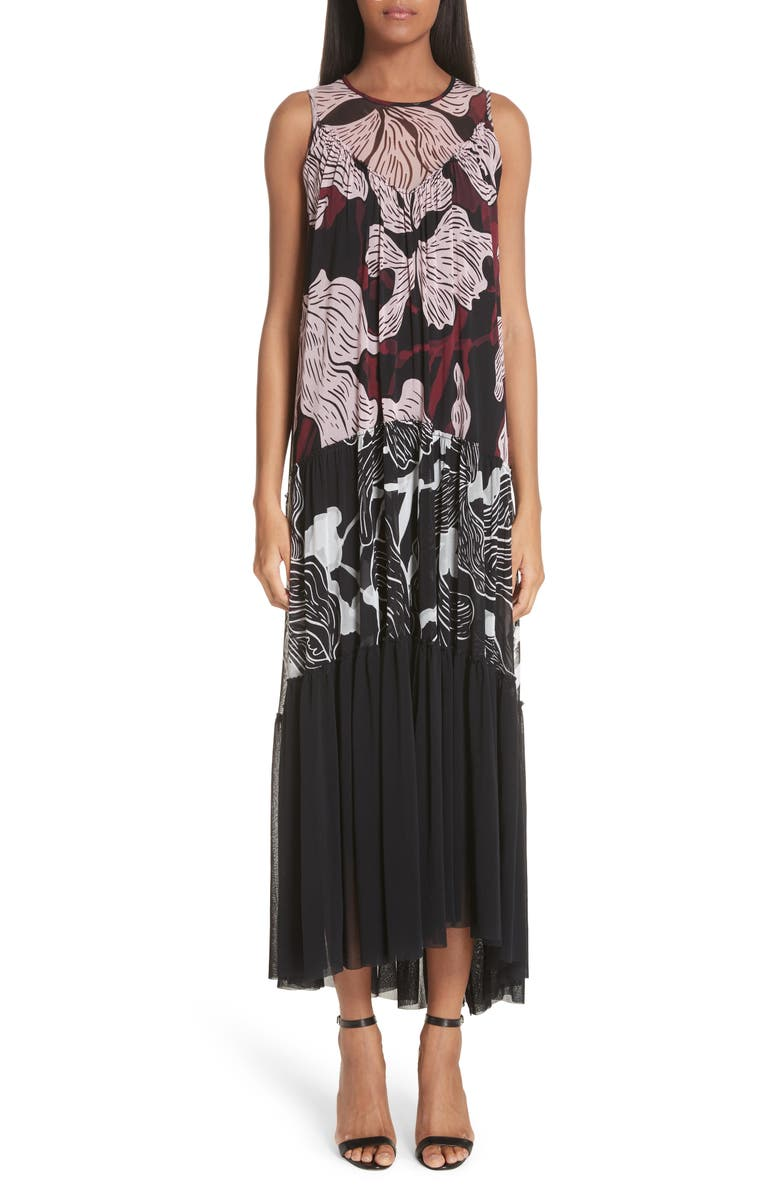 Mixed Deco Flower Print Tulle Maxi Dress
