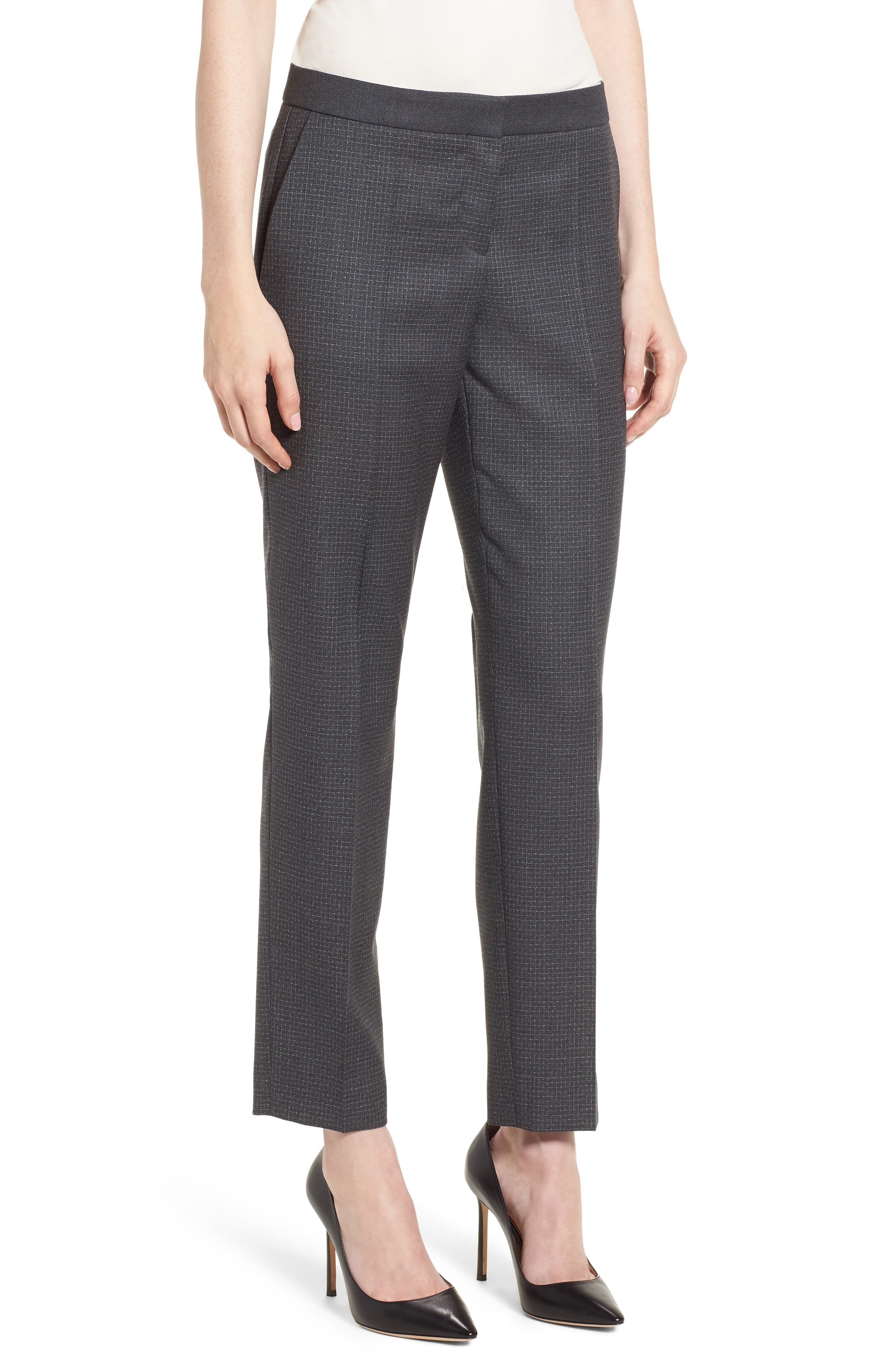 BOSS Tiluna Slim Check Wool Ankle Trousers