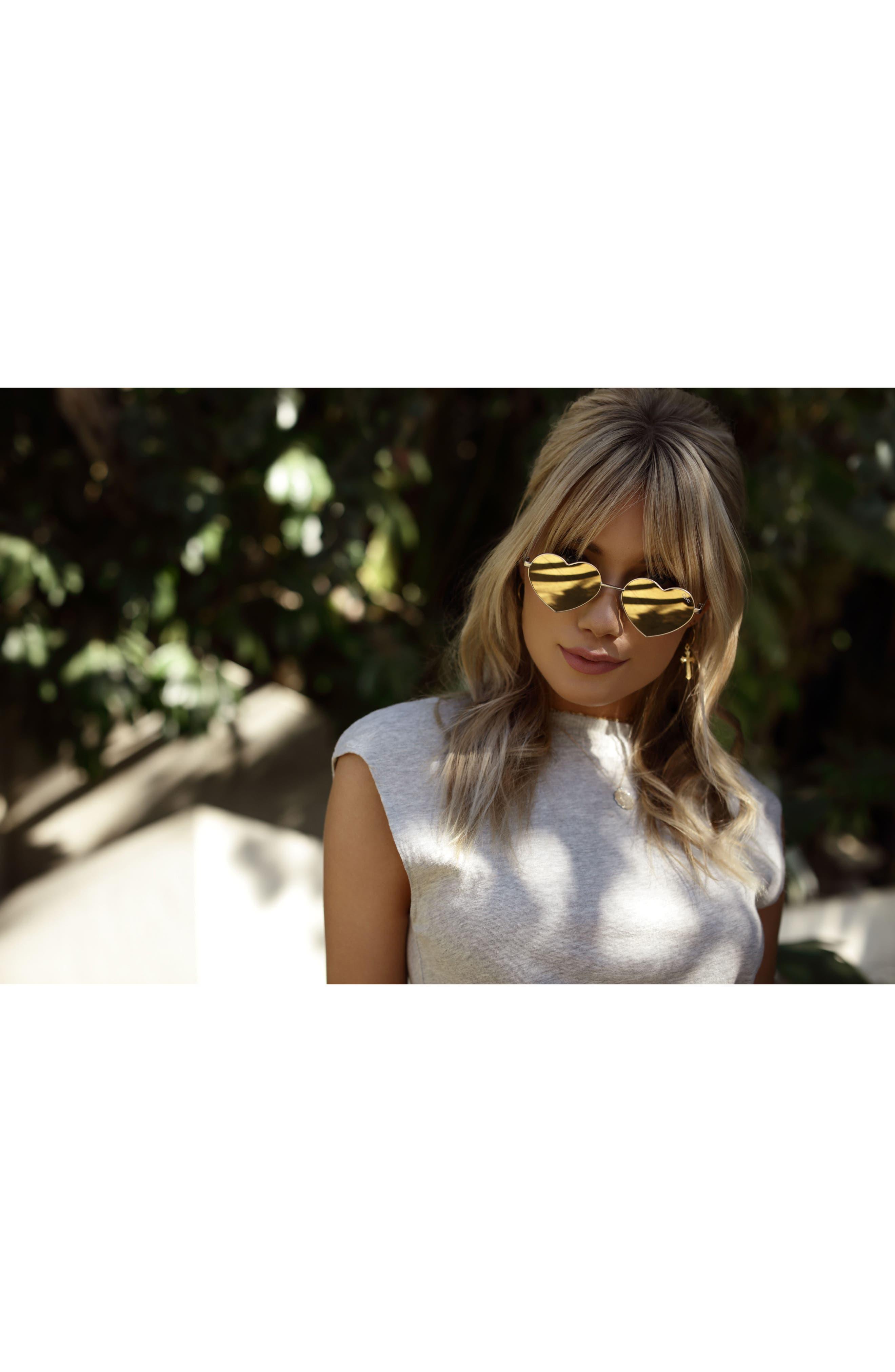 53mm Heart Breaker Heart-Shaped Sunglasses,                             Alternate thumbnail 3, color,                             Gold/ Gold