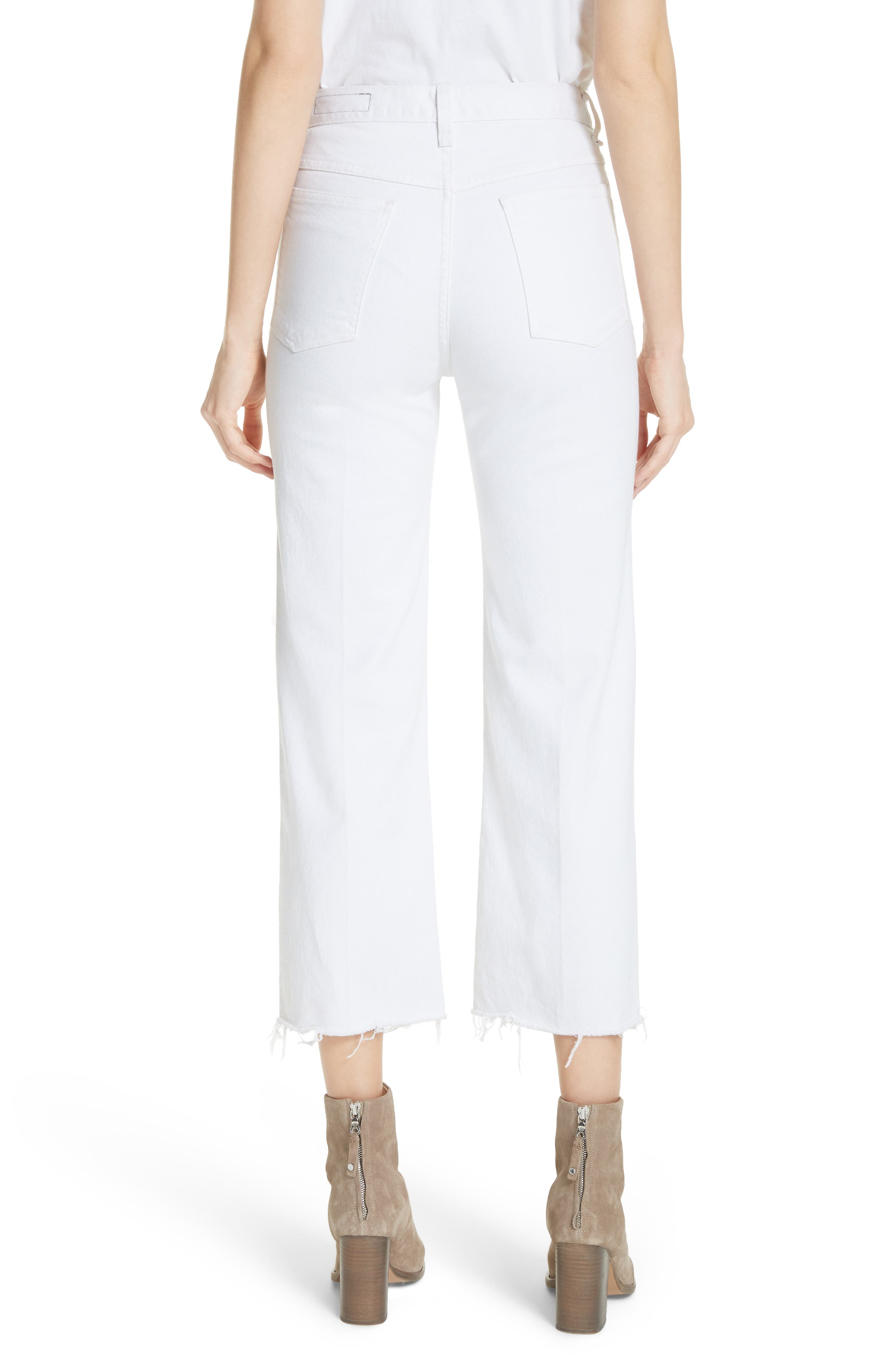 Justine High Waist Ankle Wide Leg Trouser Jeans,                             Alternate thumbnail 2, color,                             White