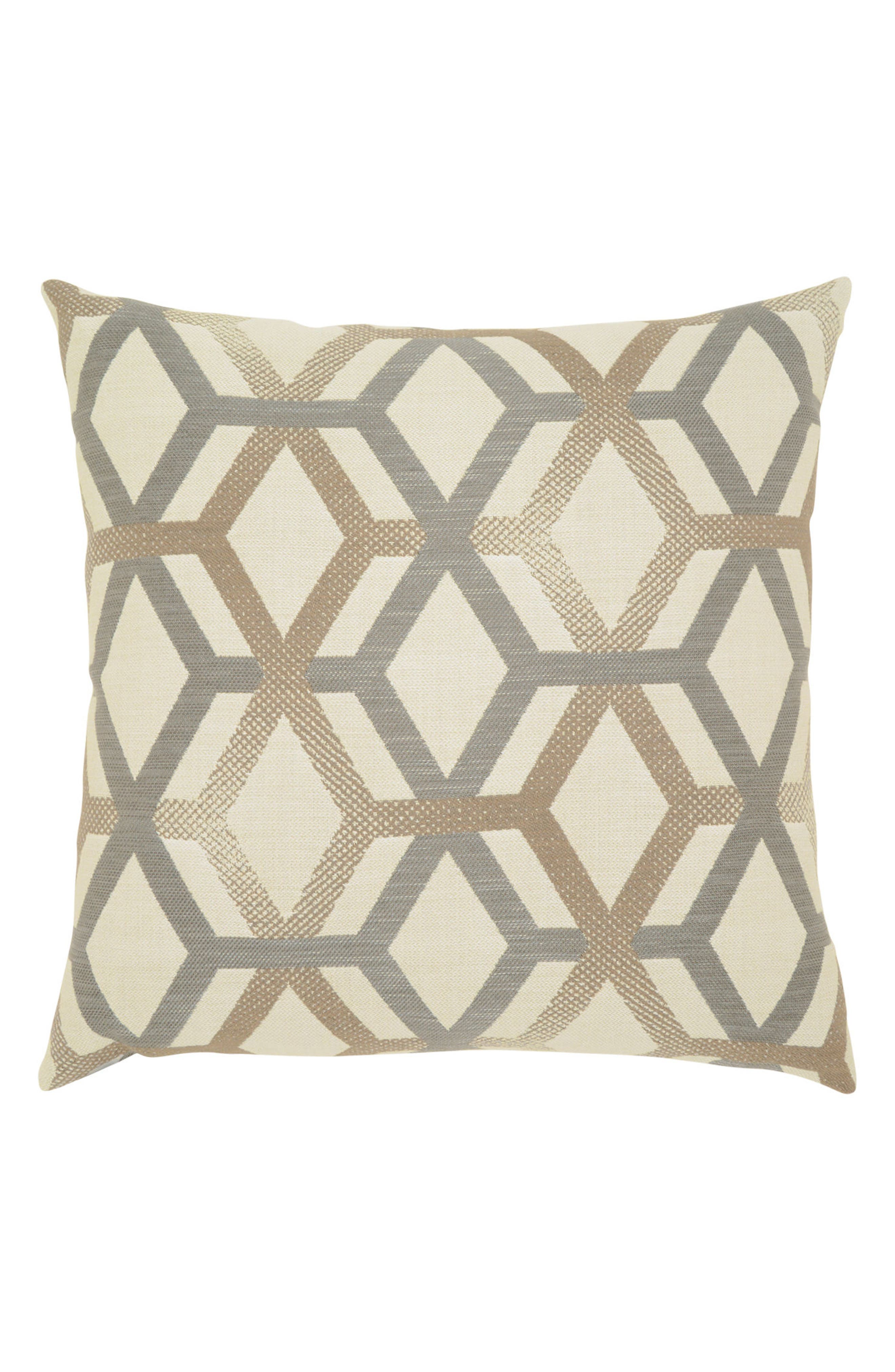 Lustrous Lines Indoor/Outdoor Accent Pillow,                         Main,                         color, Ivory/ Grey
