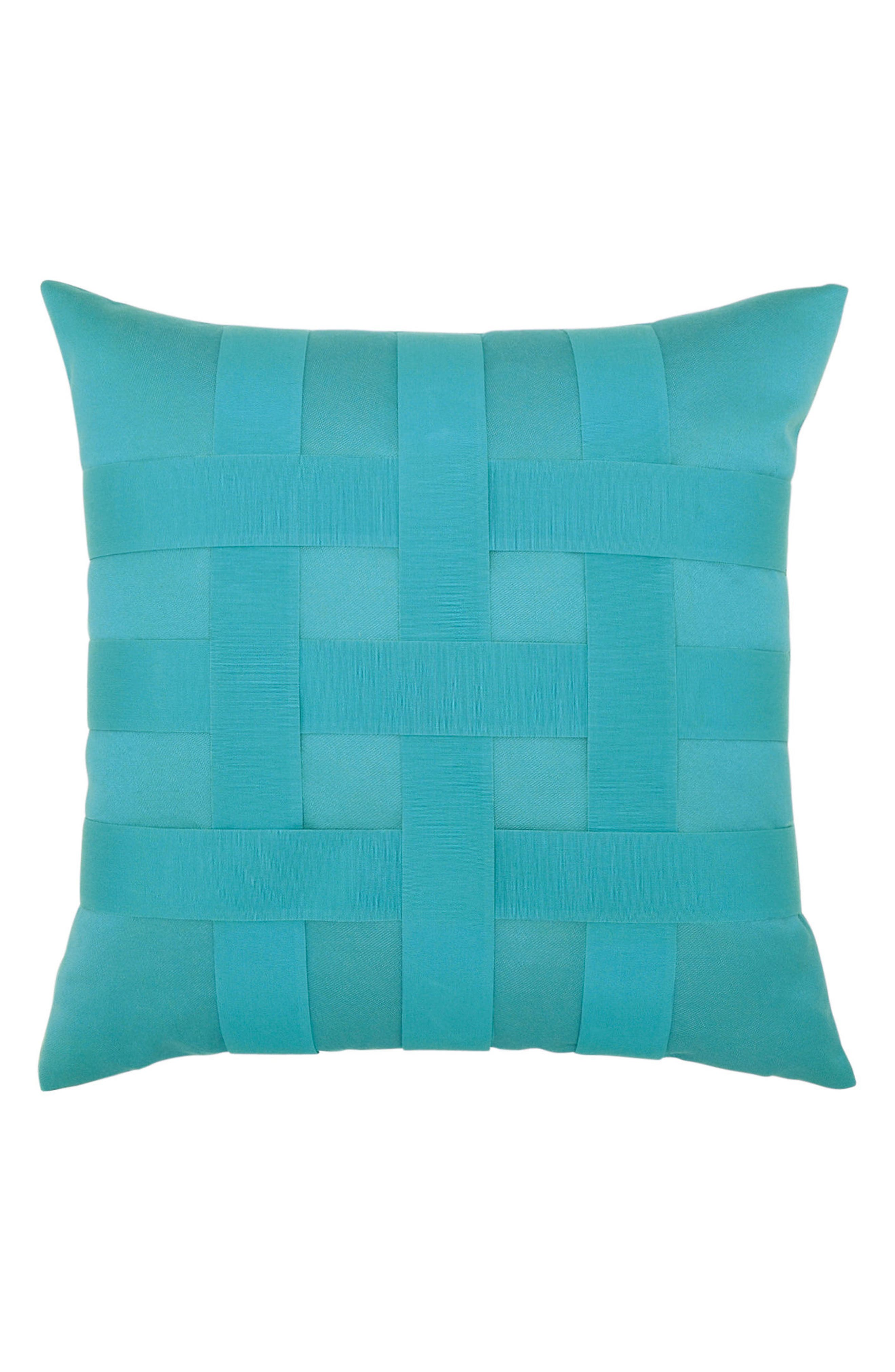 Basket Weave Indoor/Outdoor Accent Pillow,                         Main,                         color, Blue