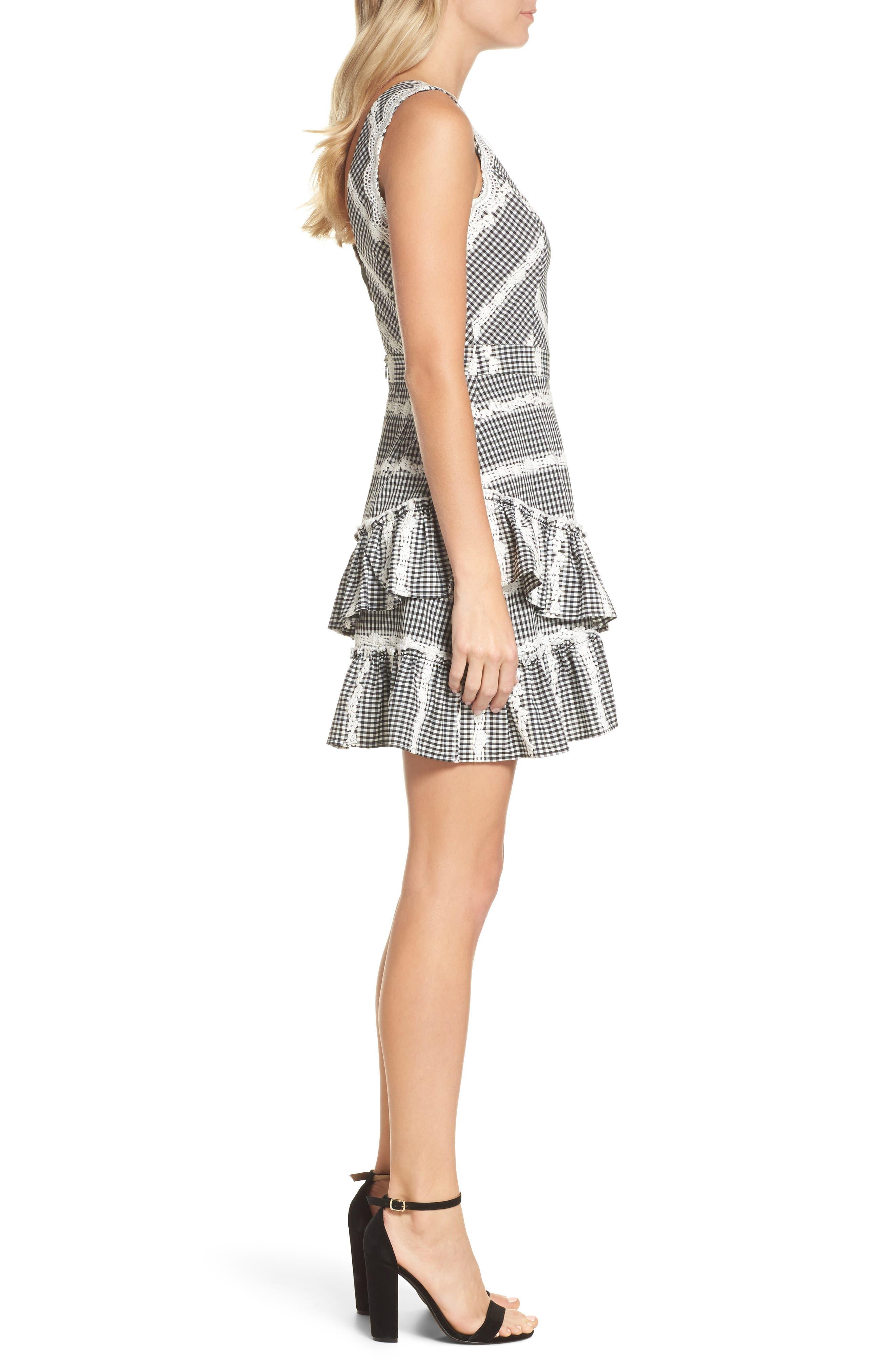 Belle Ruffle Gingham Dress,                             Alternate thumbnail 3, color,                             Black/ White