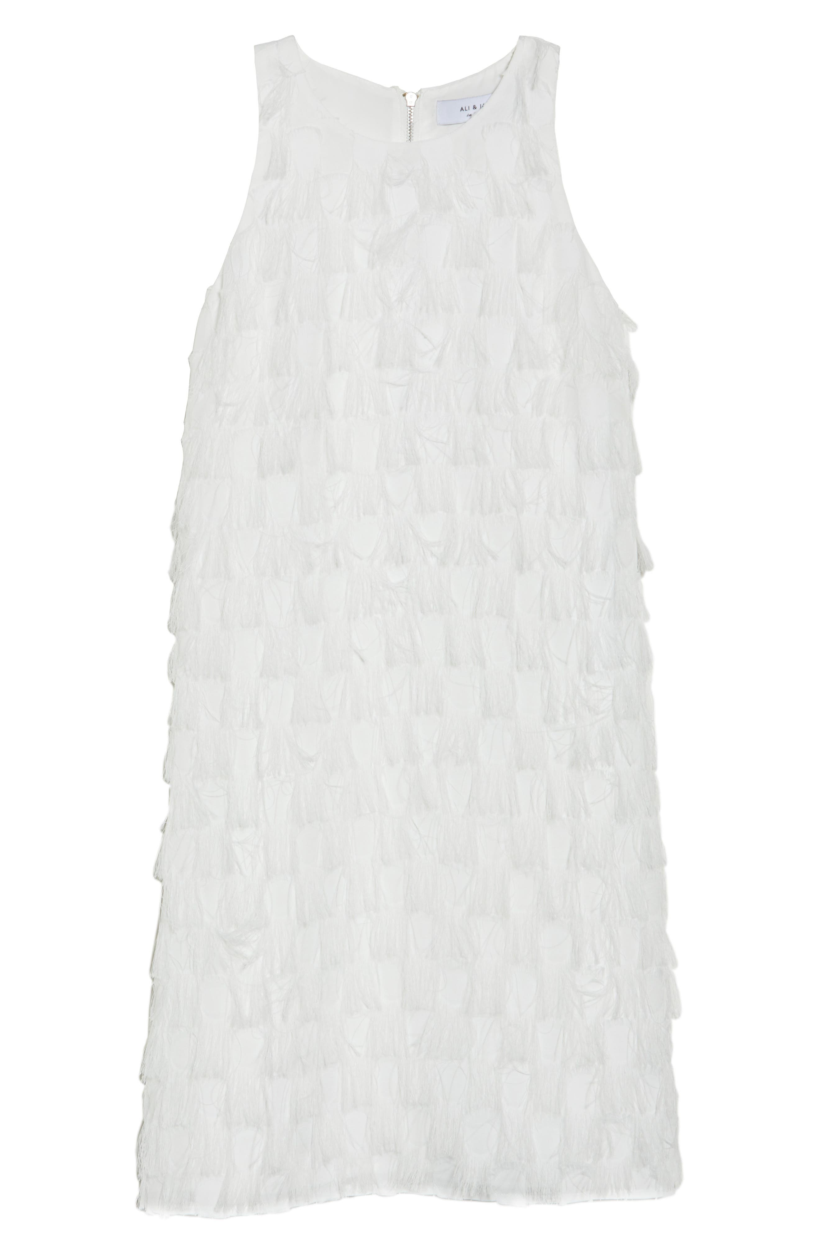 Shake Your Tail Feathers Minidress,                             Alternate thumbnail 7, color,                             White Fringe