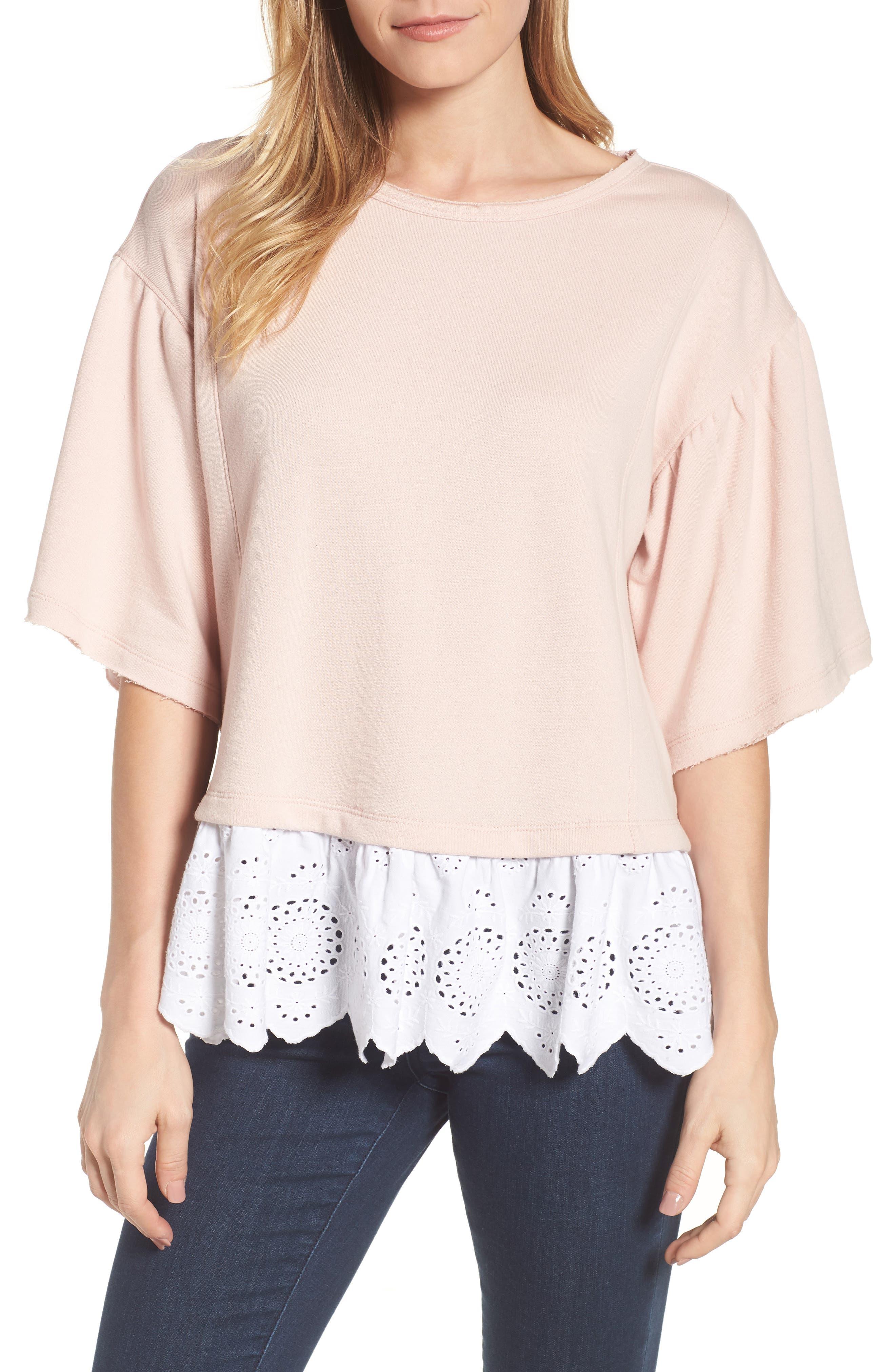Twofer Sweatshirt,                         Main,                         color, Pink Smoke- White