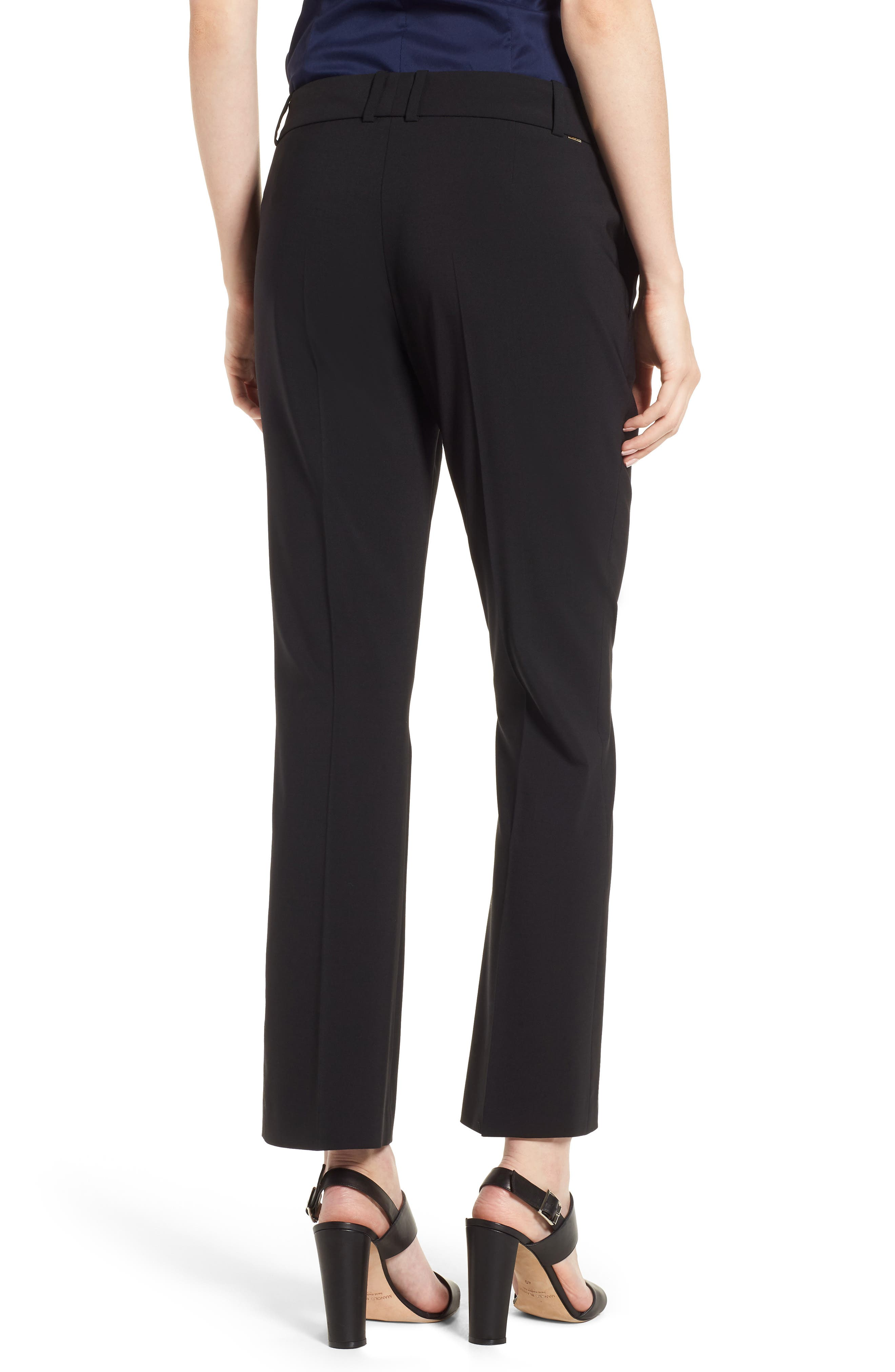 Talenara Tropical Stretch Wool Ankle Trousers,                             Alternate thumbnail 2, color,                             Black