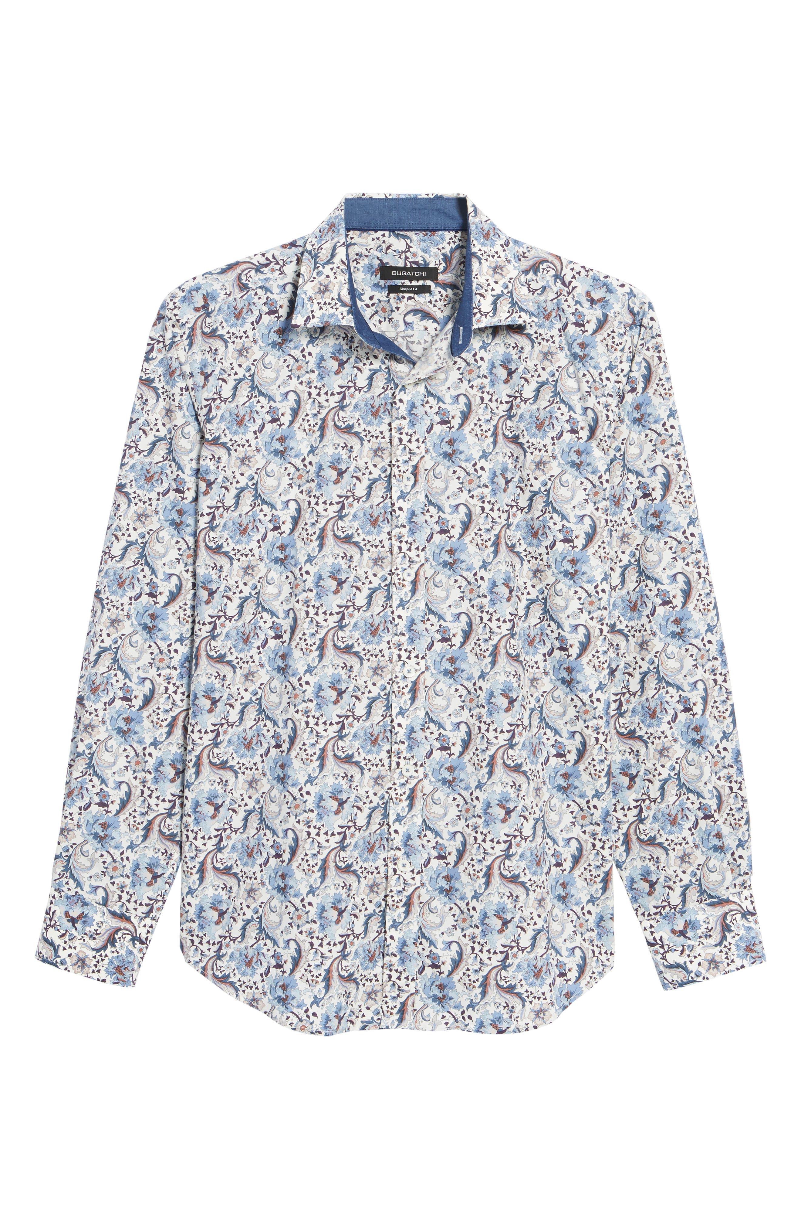 Shaped Fit Floral Sport Shirt,                             Alternate thumbnail 6, color,                             Chalk