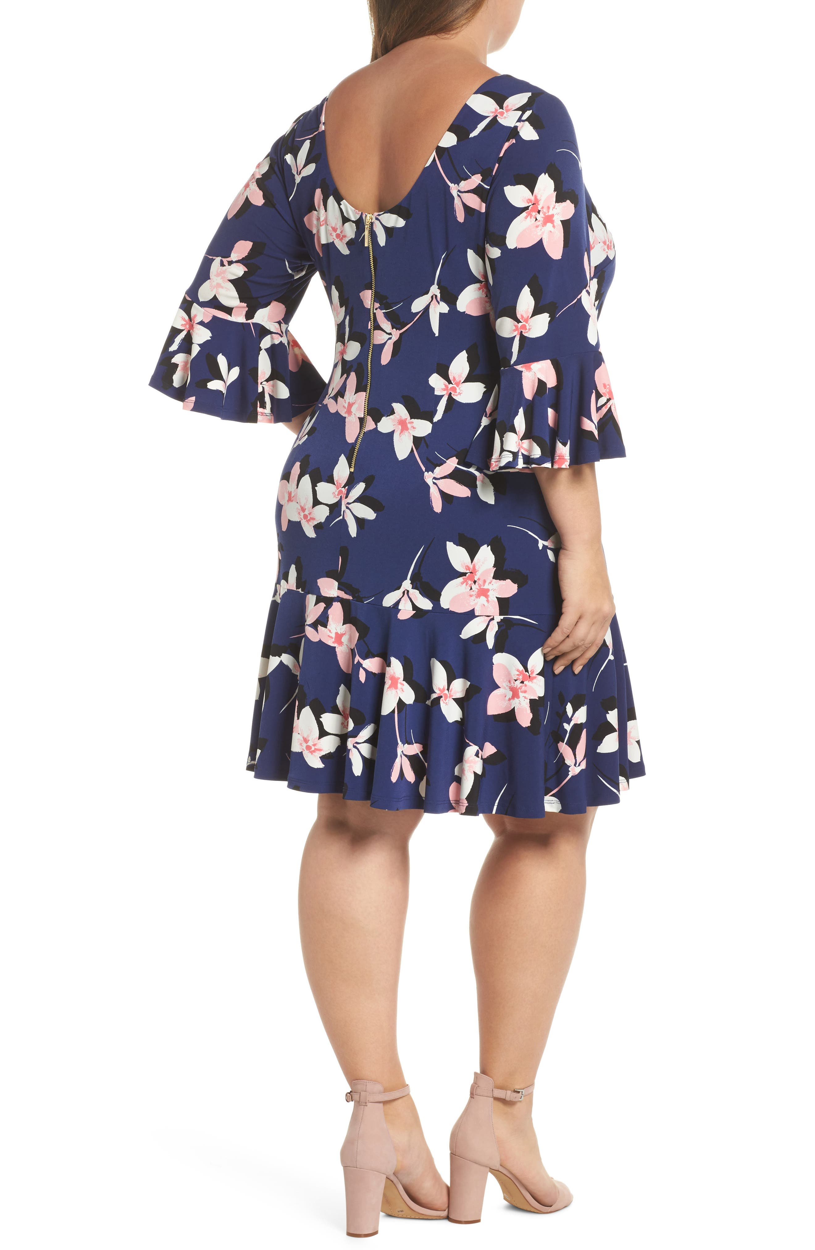 Floral Print Bell Sleeve Dress,                             Alternate thumbnail 2, color,                             Navy/ Pink