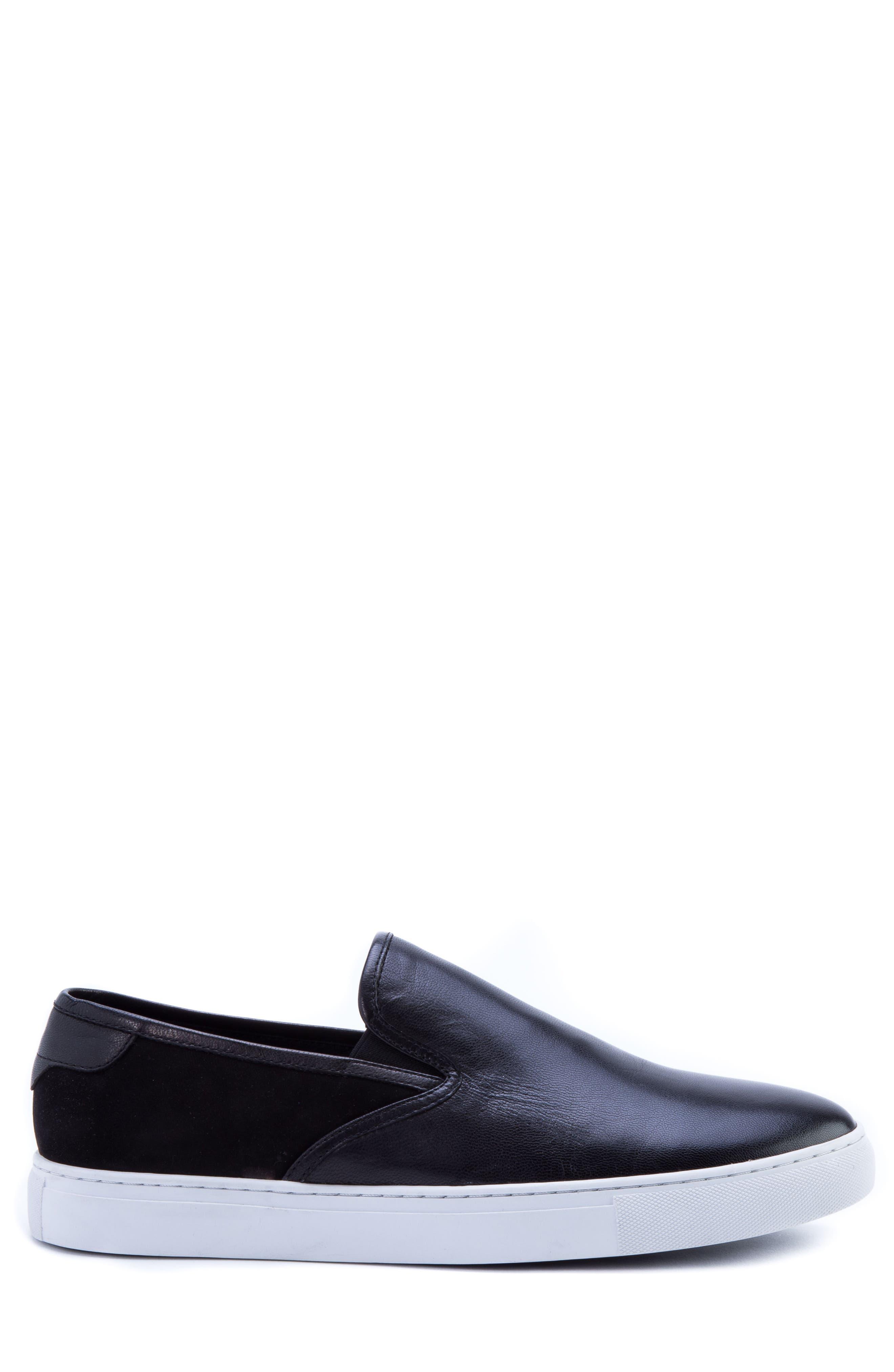 Duchamps Slip-On Sneaker,                             Alternate thumbnail 3, color,                             Black Leather/ Suede