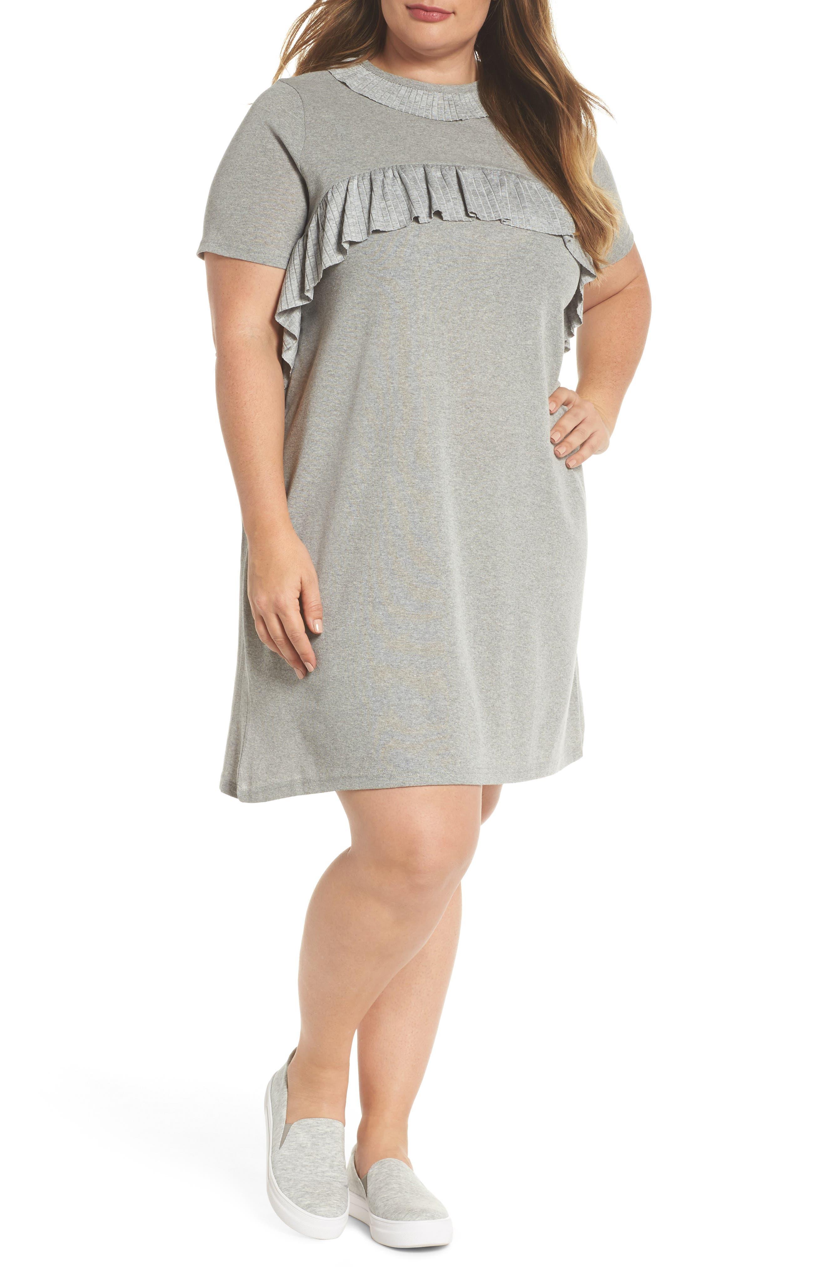 Pleated Frill Swing Dress,                             Main thumbnail 1, color,                             Grey