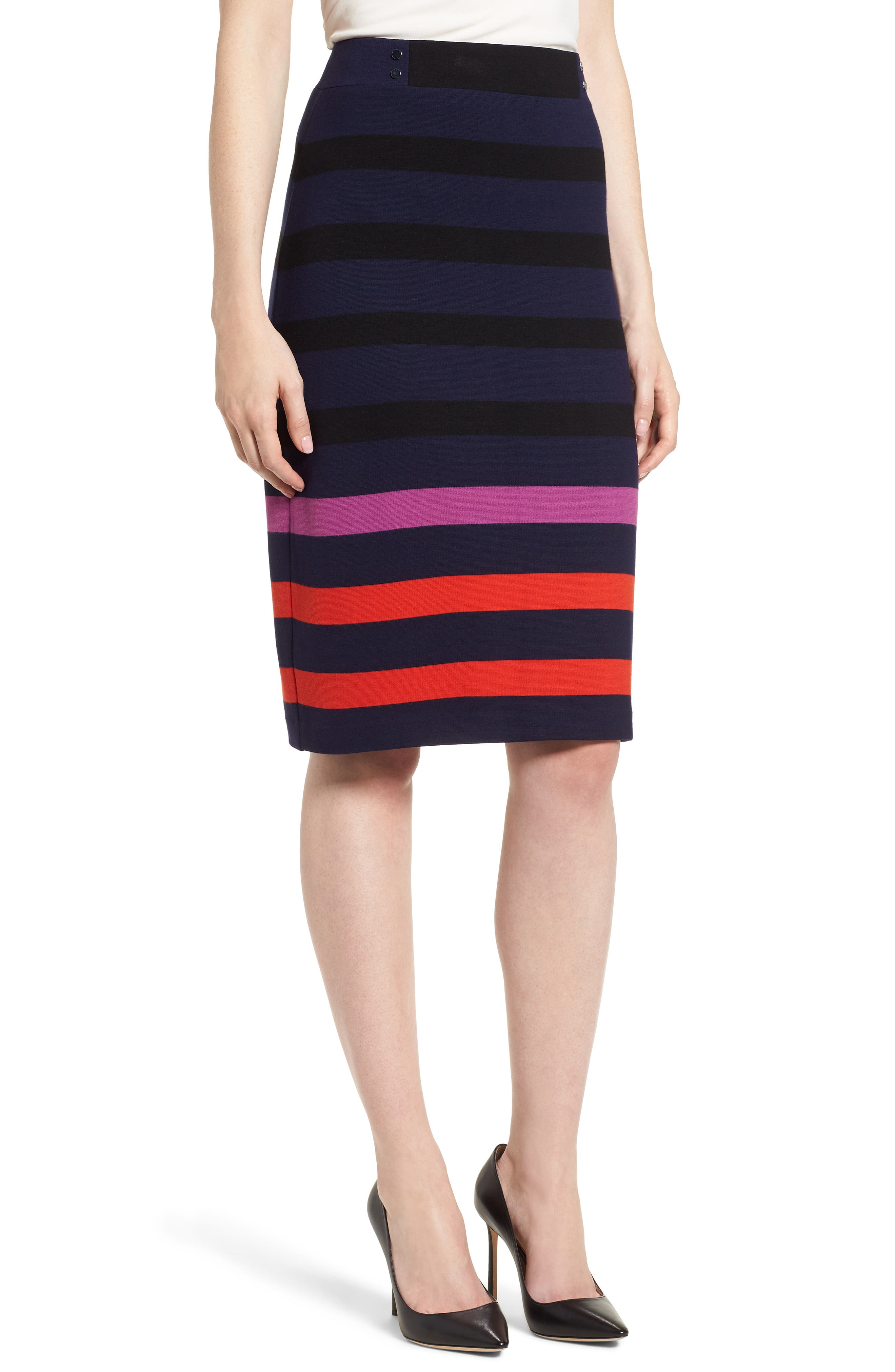 Ebienne Stripe Pencil Skirt,                             Main thumbnail 1, color,                             Nautical Blue Fantasy