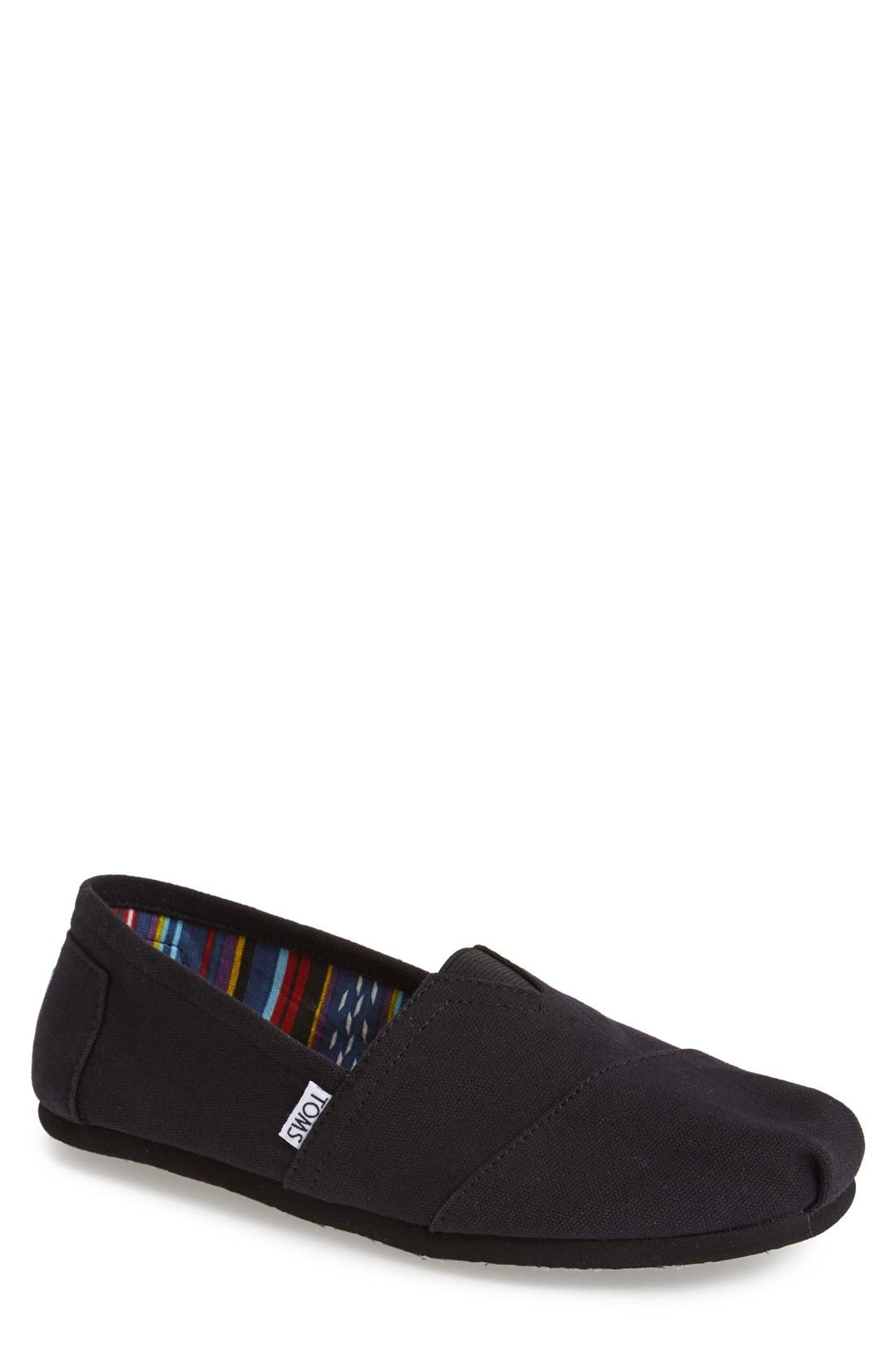 'Classic' Canvas Slip-On,                             Main thumbnail 1, color,                             Black/ Black