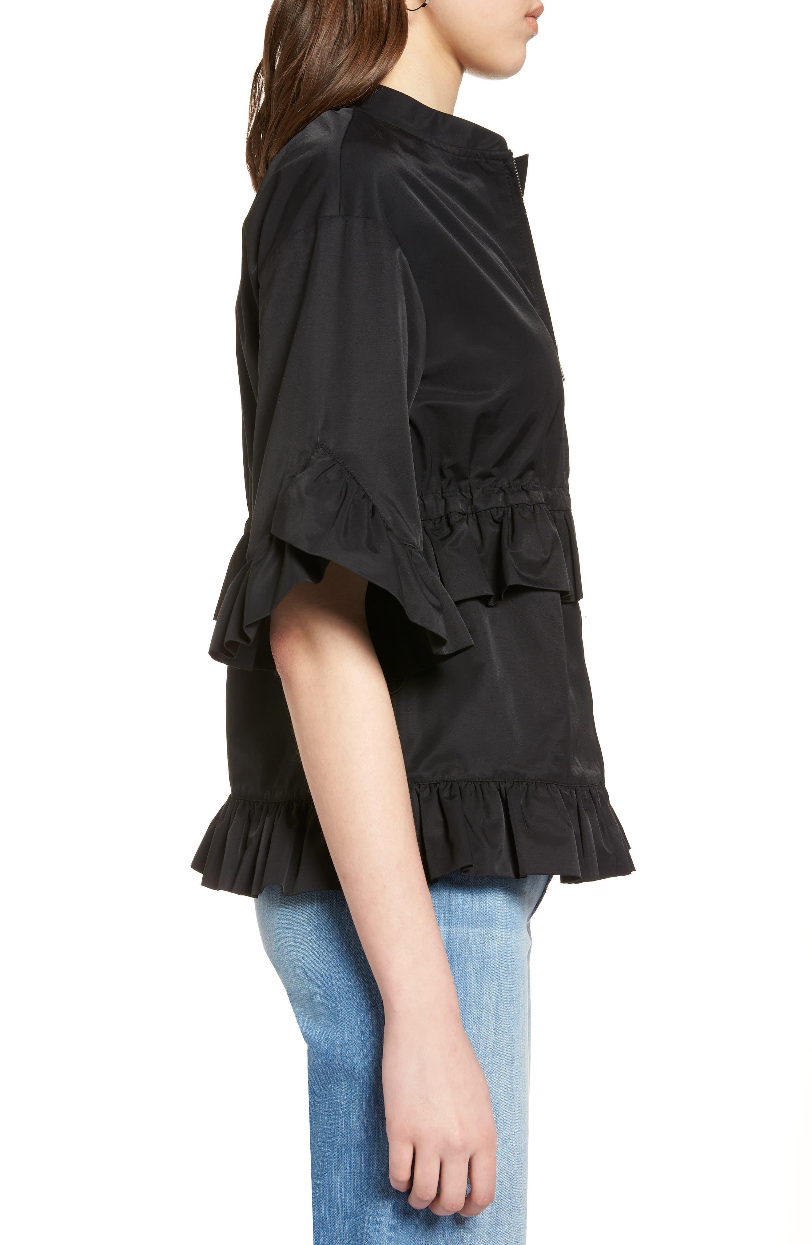 Alternate Image 3  - Halogen® Ruffle Zip Jacket (Regular & Petite)