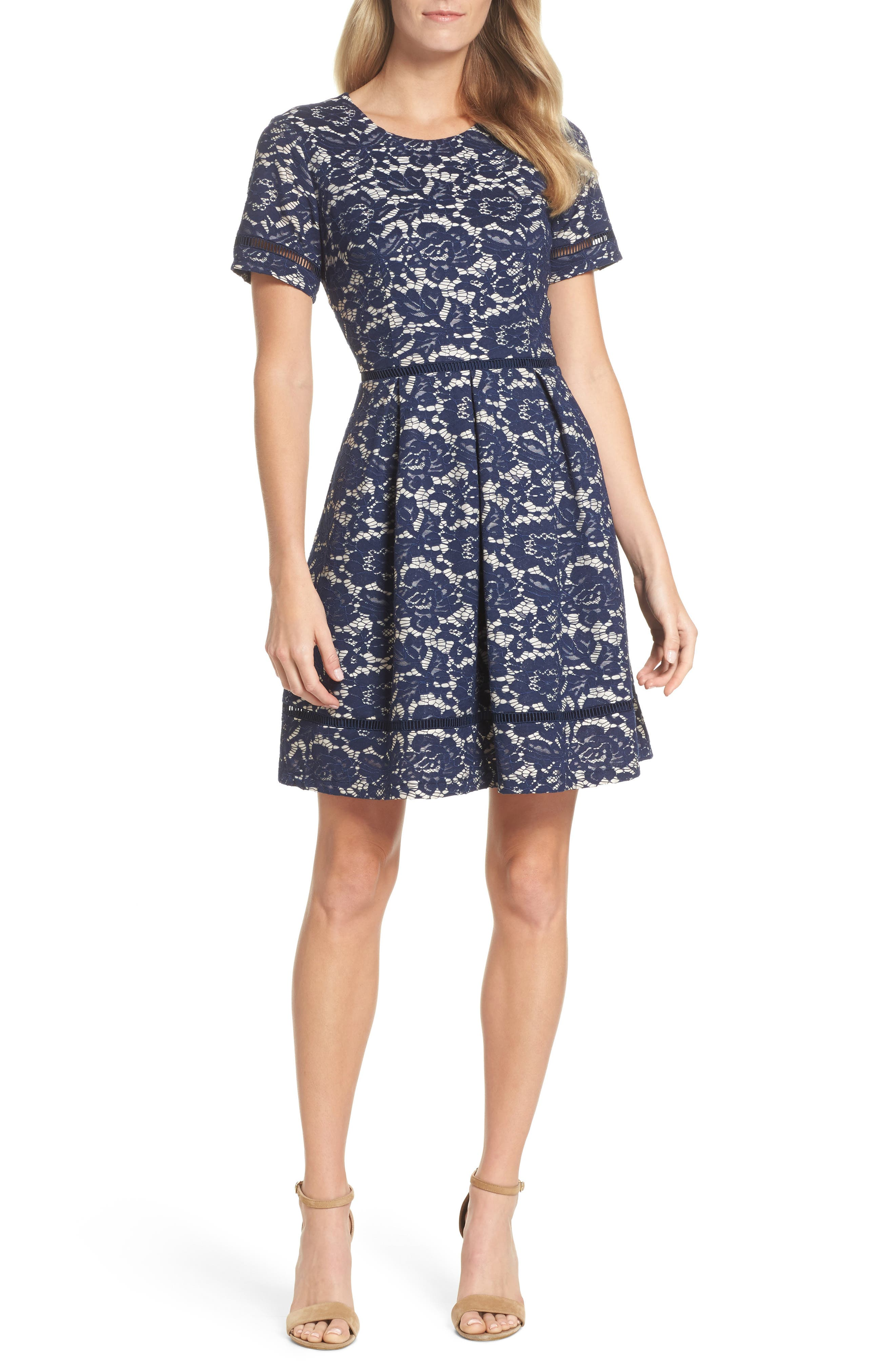 Bonded Lace Fit & Flare Dress,                         Main,                         color, Navy