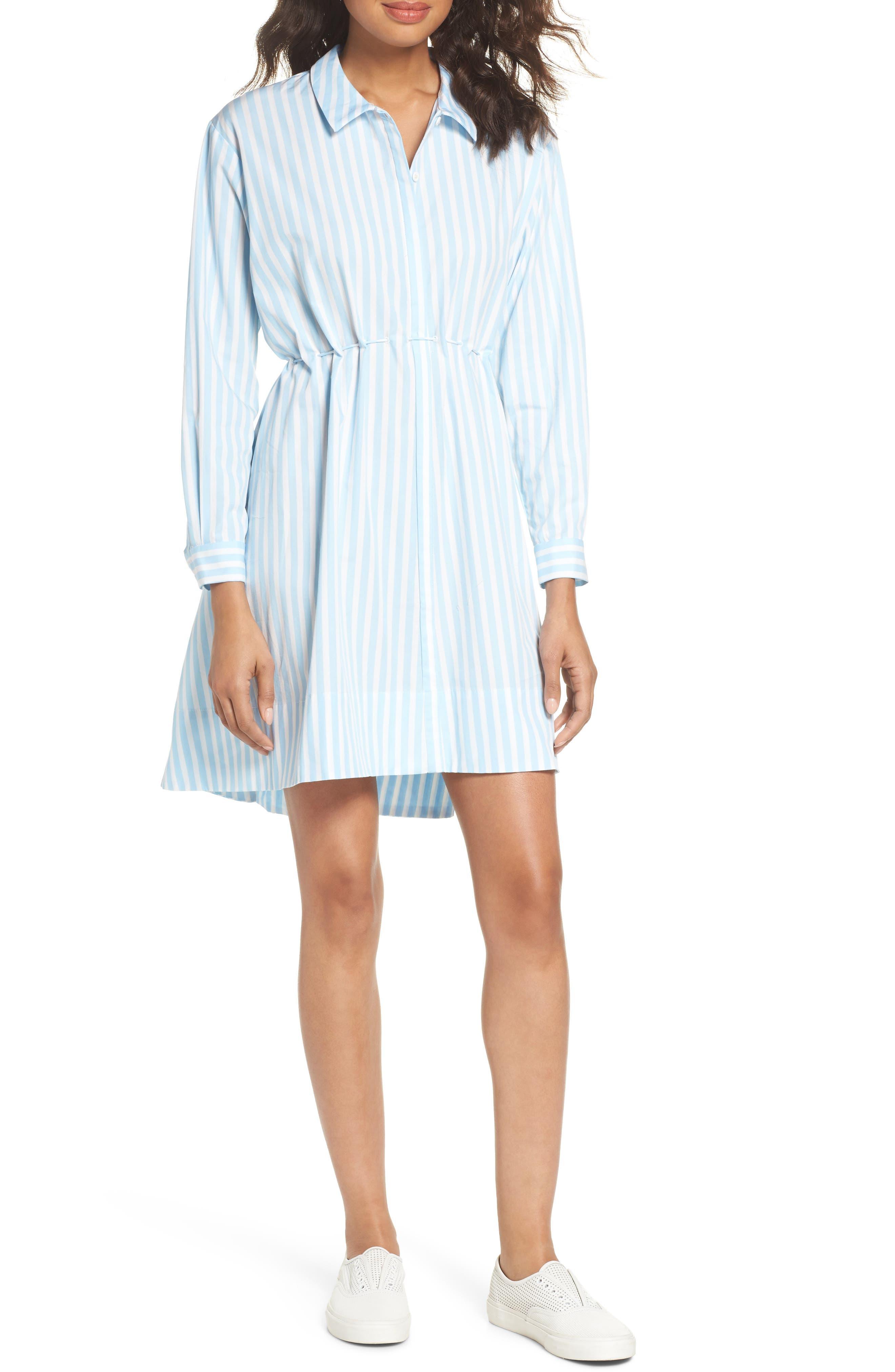 Smithson Stripe Shirtdress,                             Main thumbnail 1, color,                             Dream Blue