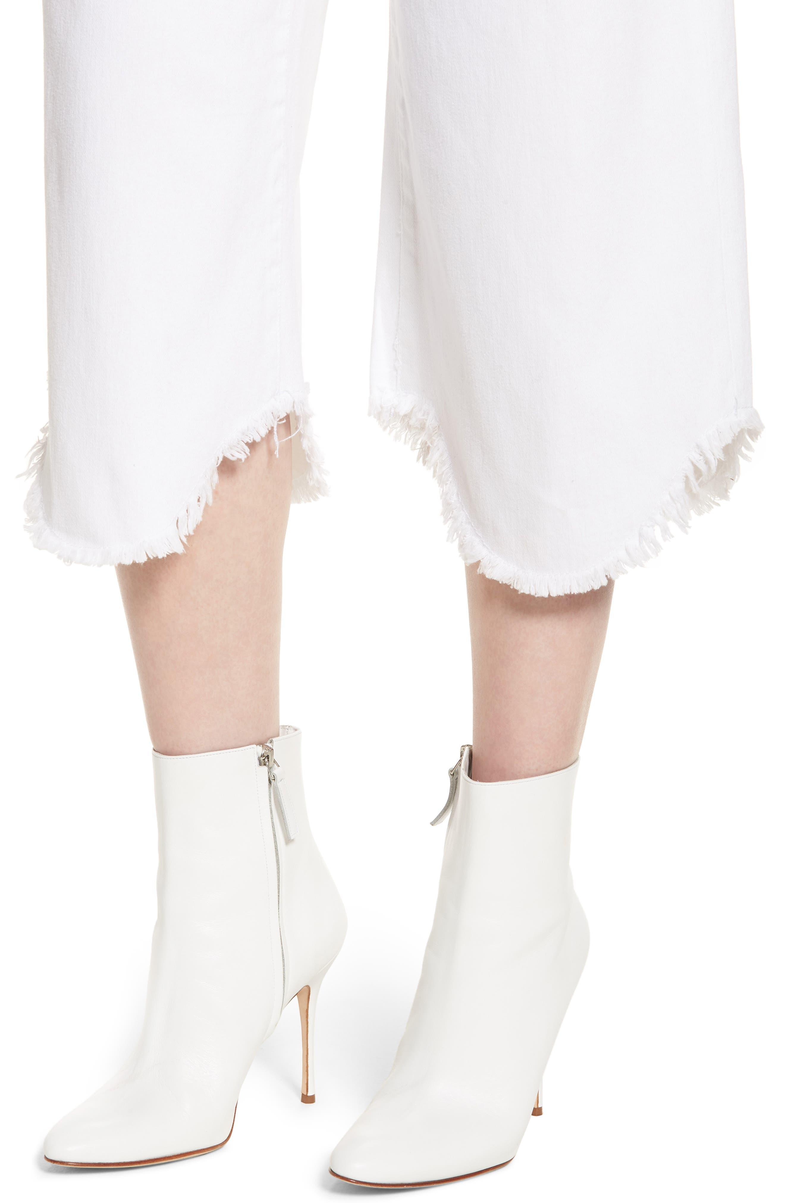 Wide Leg Crop Jeans,                             Alternate thumbnail 4, color,                             White
