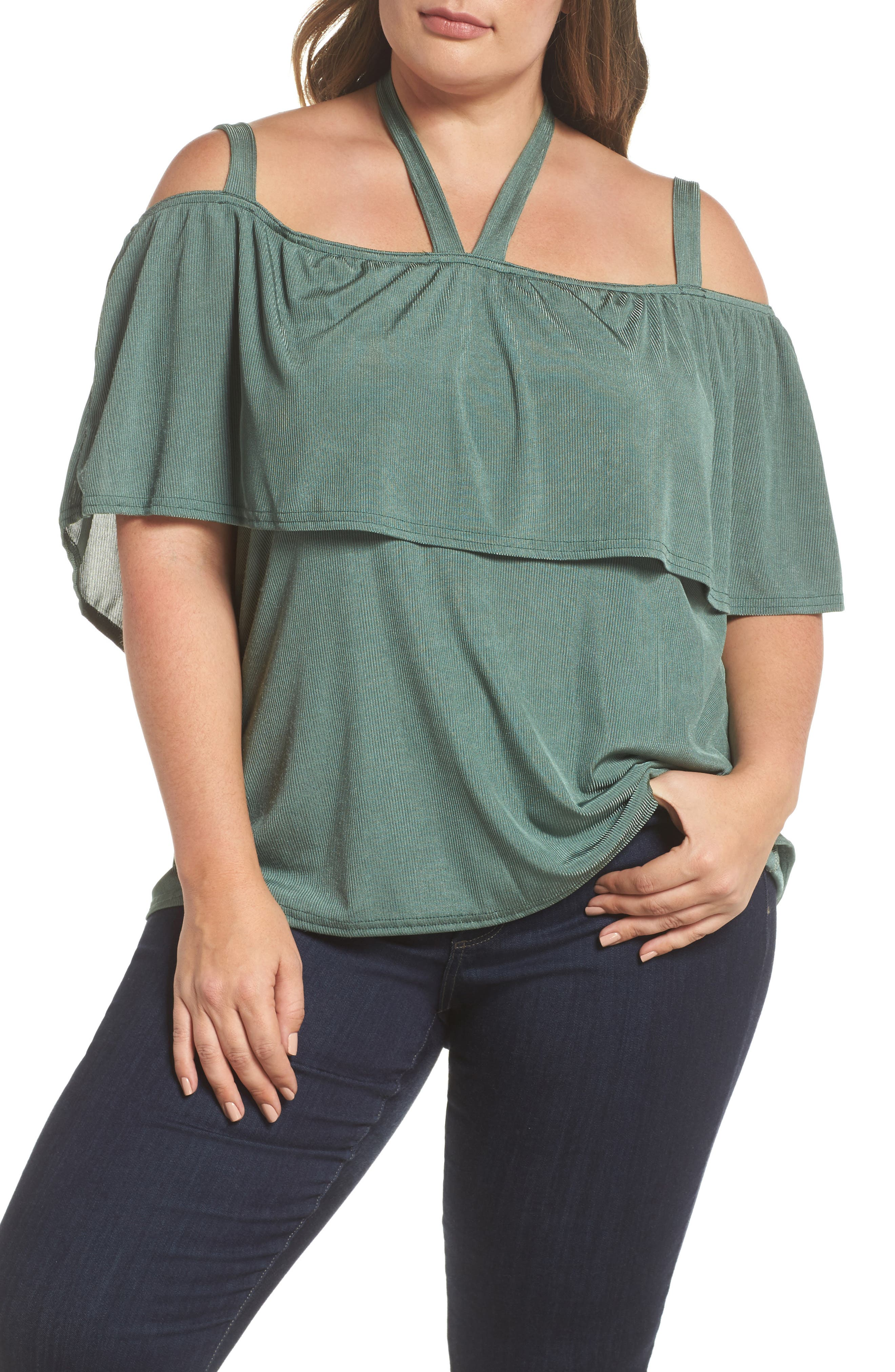 LOST INK Cold Shoulder Ruffle Top (Plus Size)