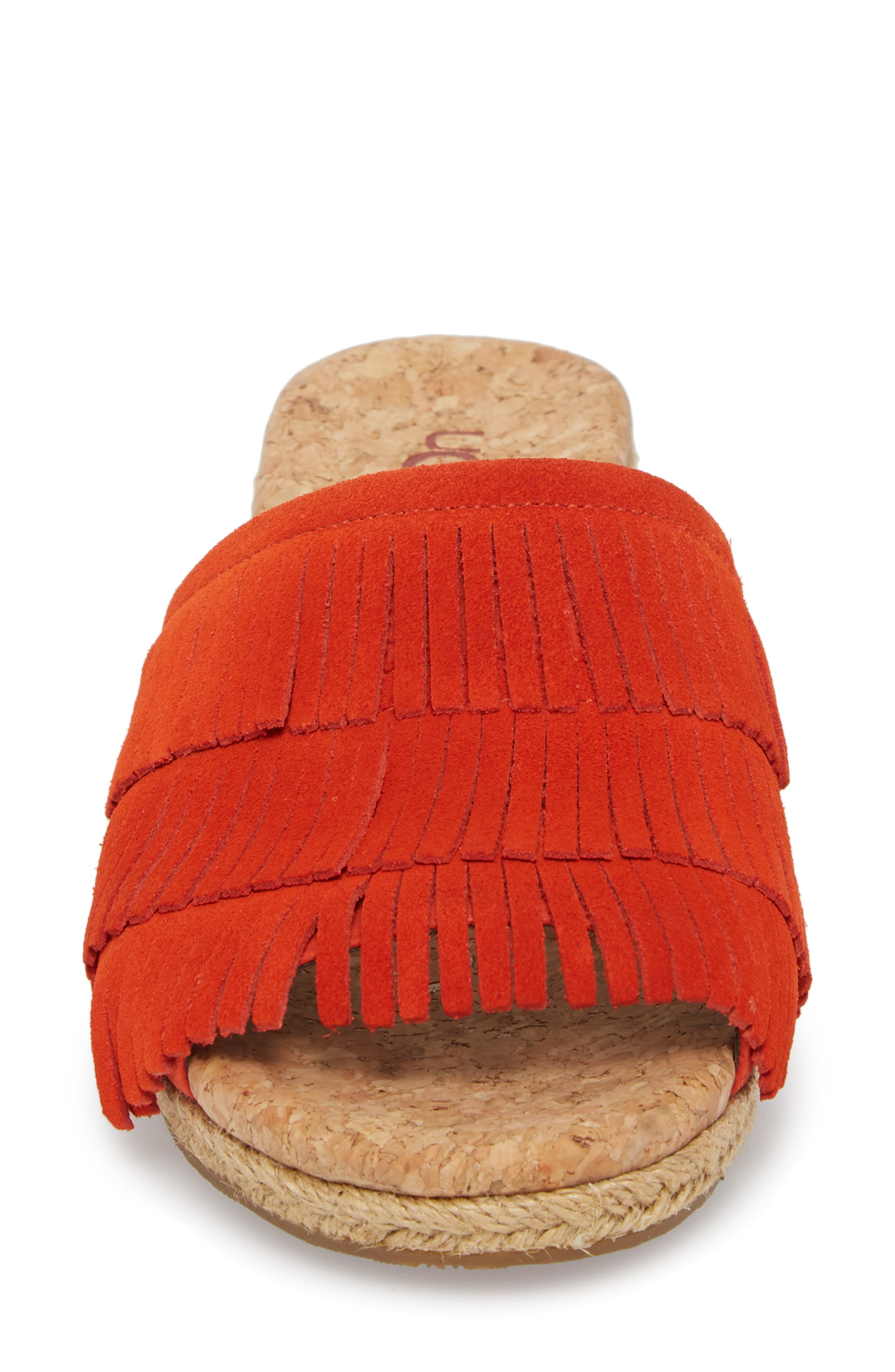 Kendra Fringe Wedge Sandal,                             Alternate thumbnail 4, color,                             Red Orange