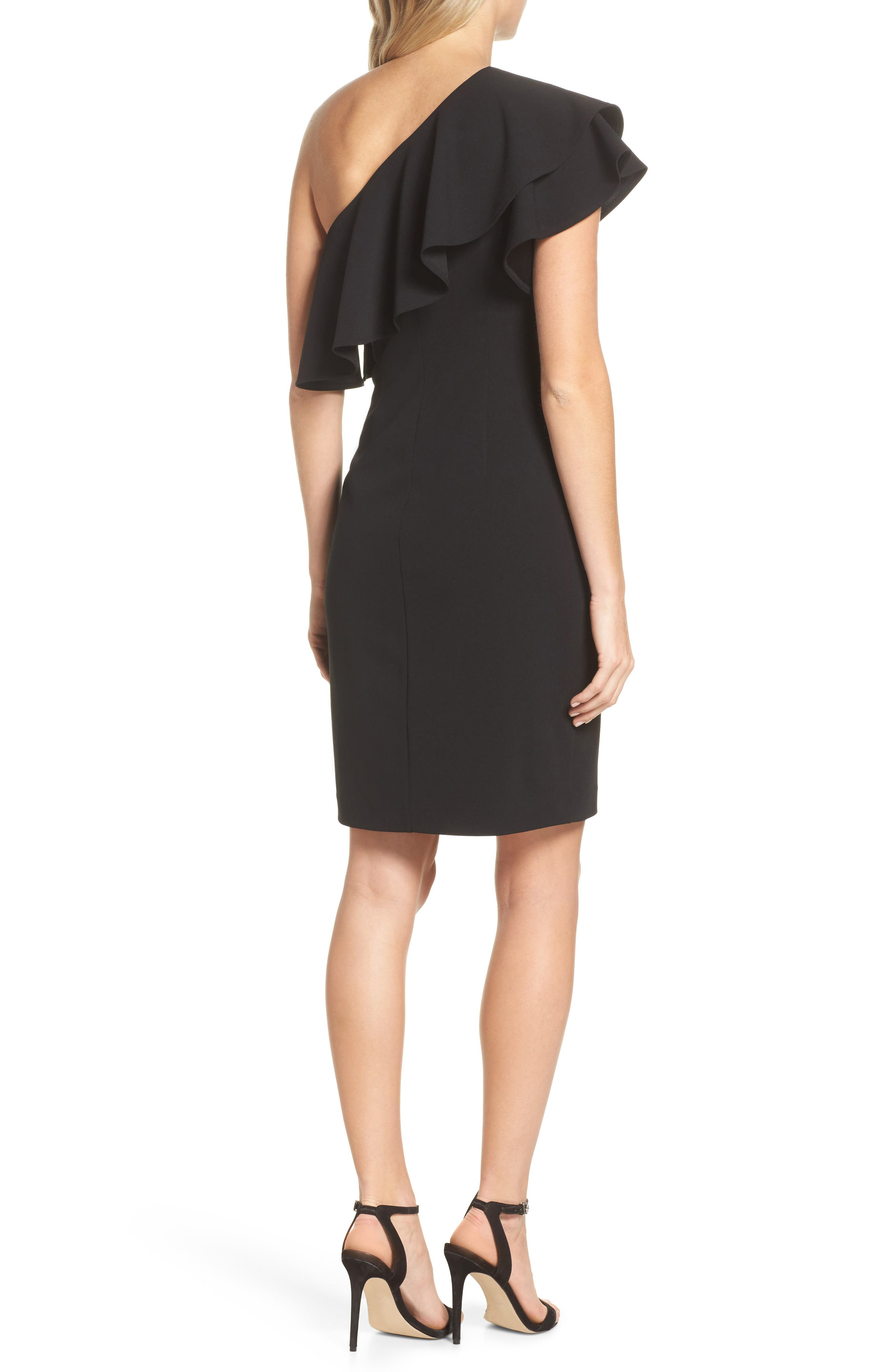 One-Shoulder Ruffle Dress,                             Alternate thumbnail 2, color,                             Black