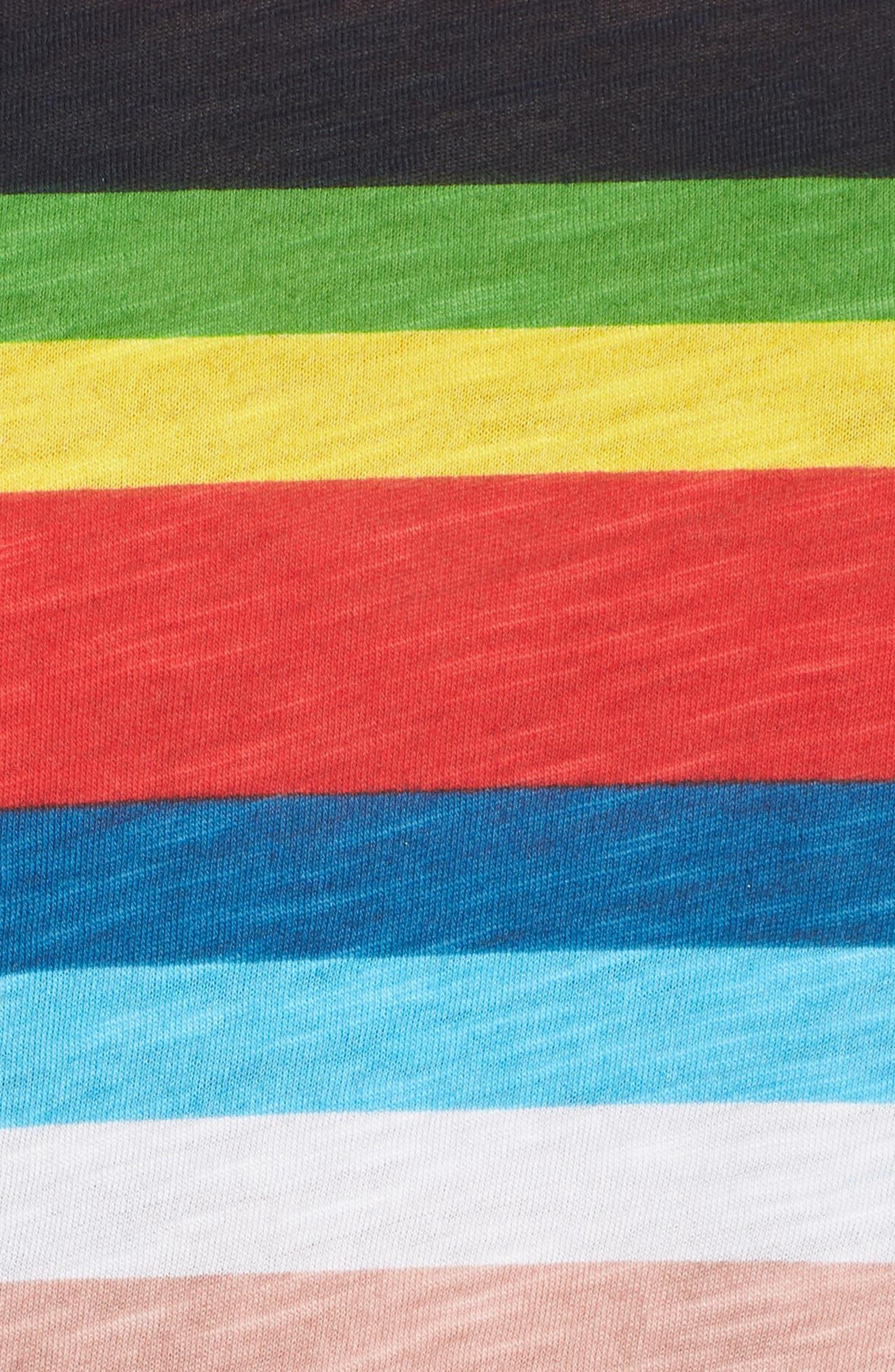 Rainbow Stripe Ringer Tee,                             Alternate thumbnail 6, color,                             Multi