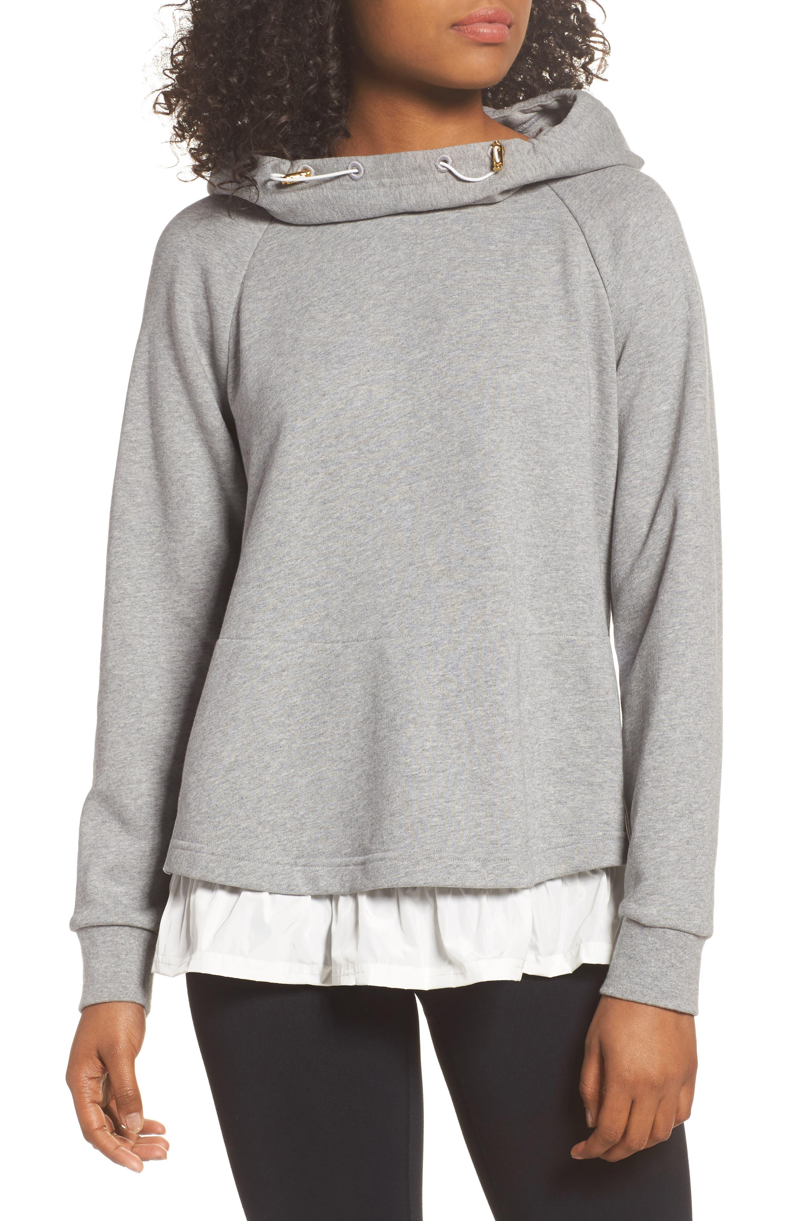 ruffle hoodie sweatshirt,                             Main thumbnail 1, color,                             Flint Heather