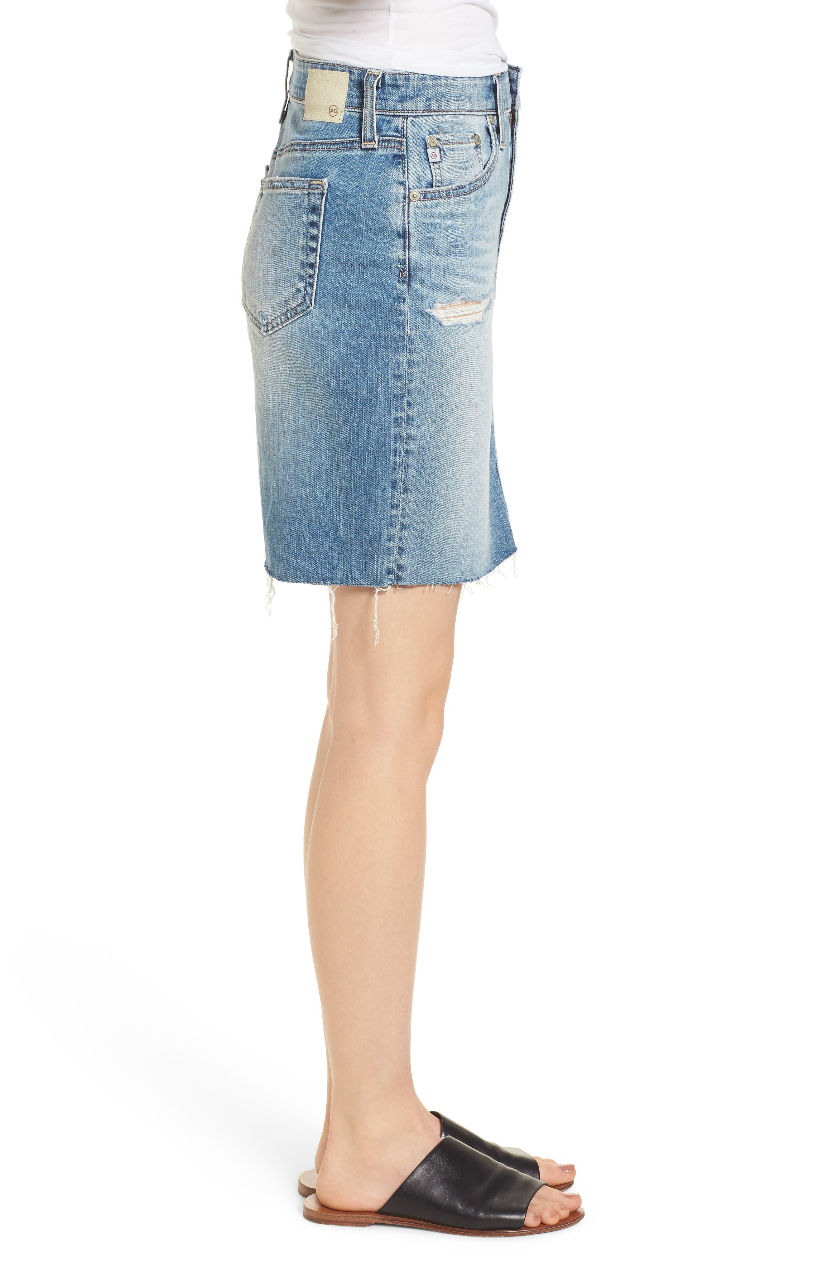 The Erin Distressed Denim Miniskirt,                             Alternate thumbnail 3, color,                             Indigo Deluge Destructed