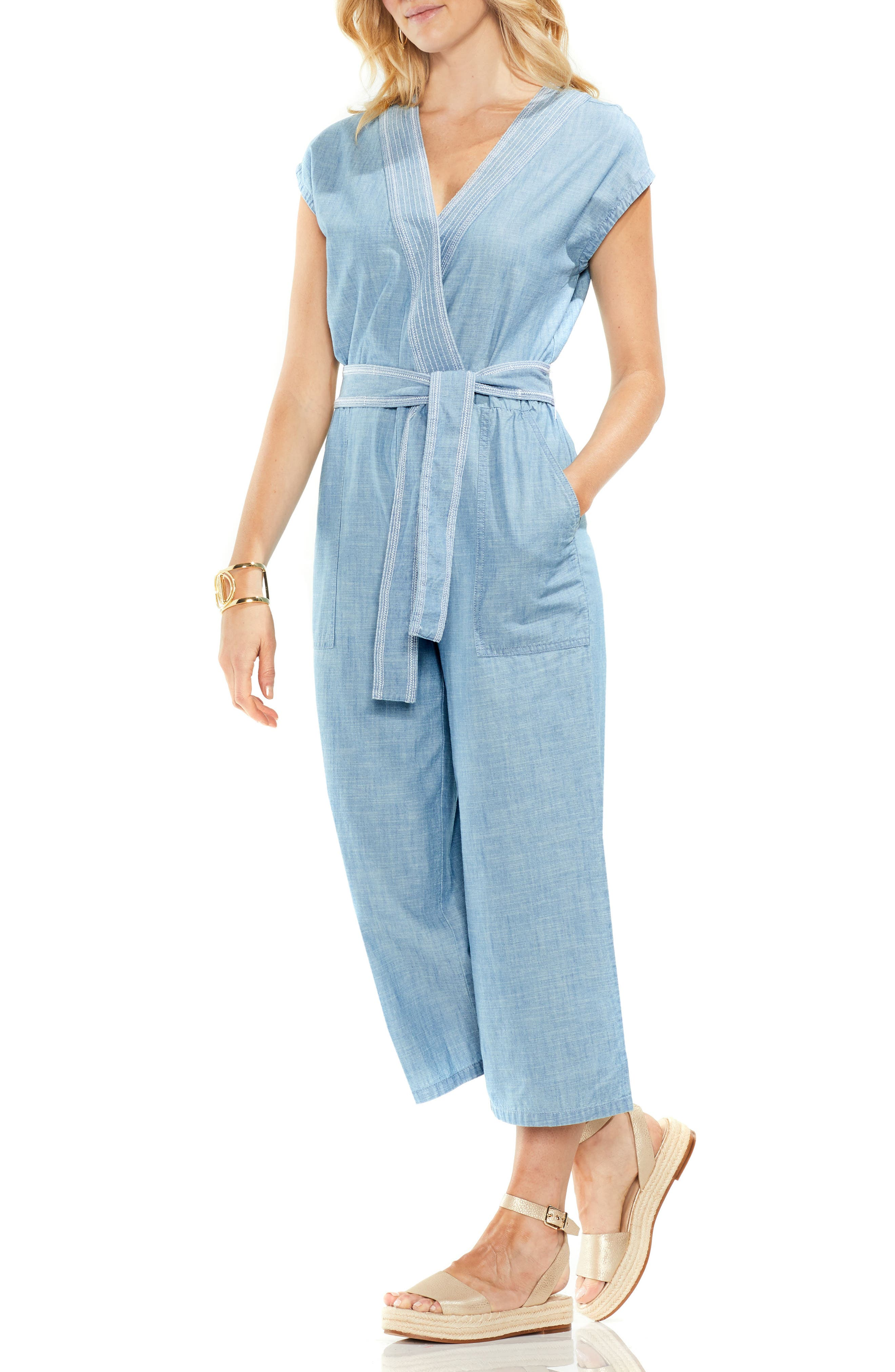 Crop Chambray Jumpsuit,                         Main,                         color, Ice Lagoon
